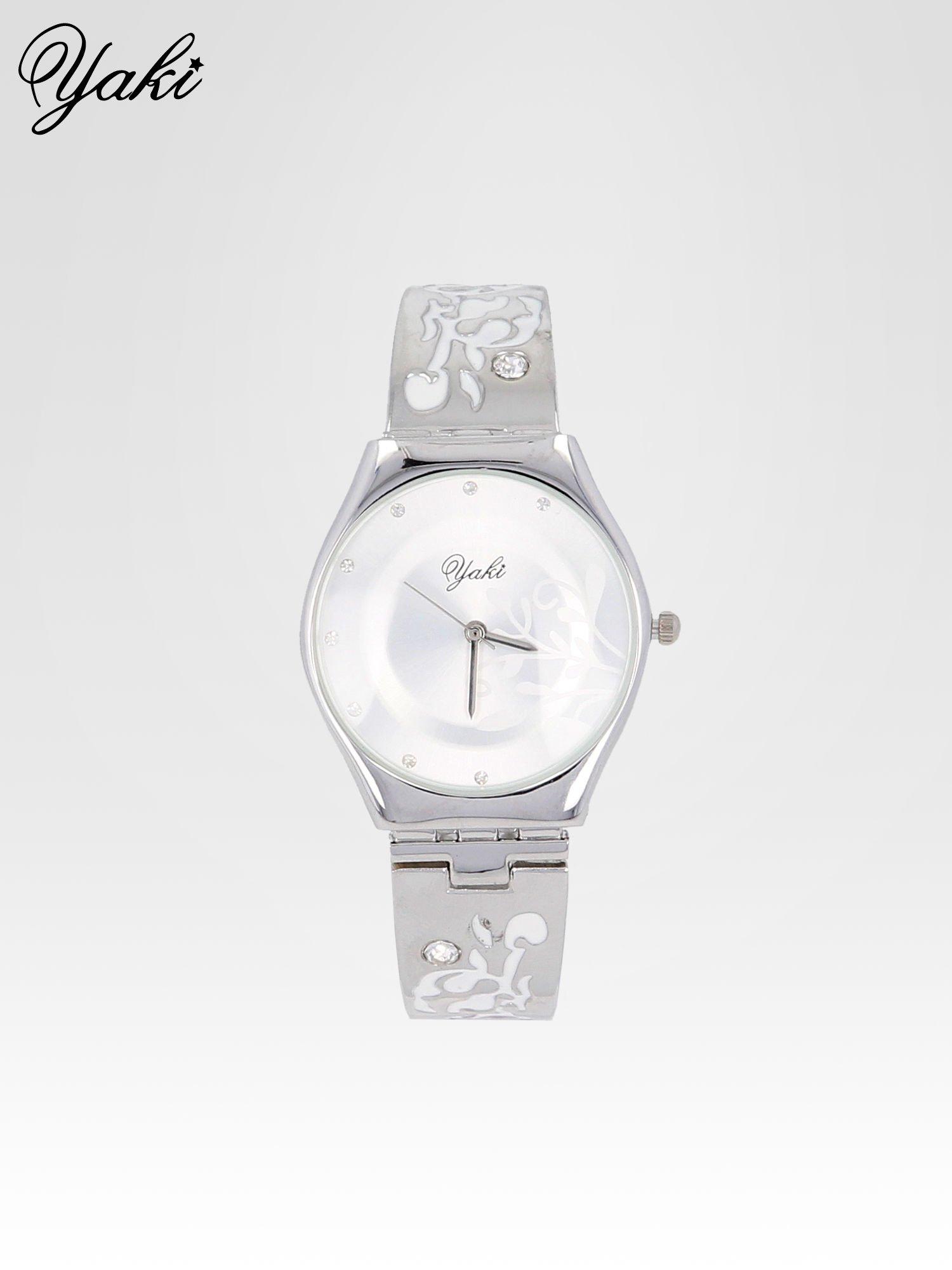Srebrny zegarek damski na bransolecie z subtelnym zdobieniem                                  zdj.                                  1