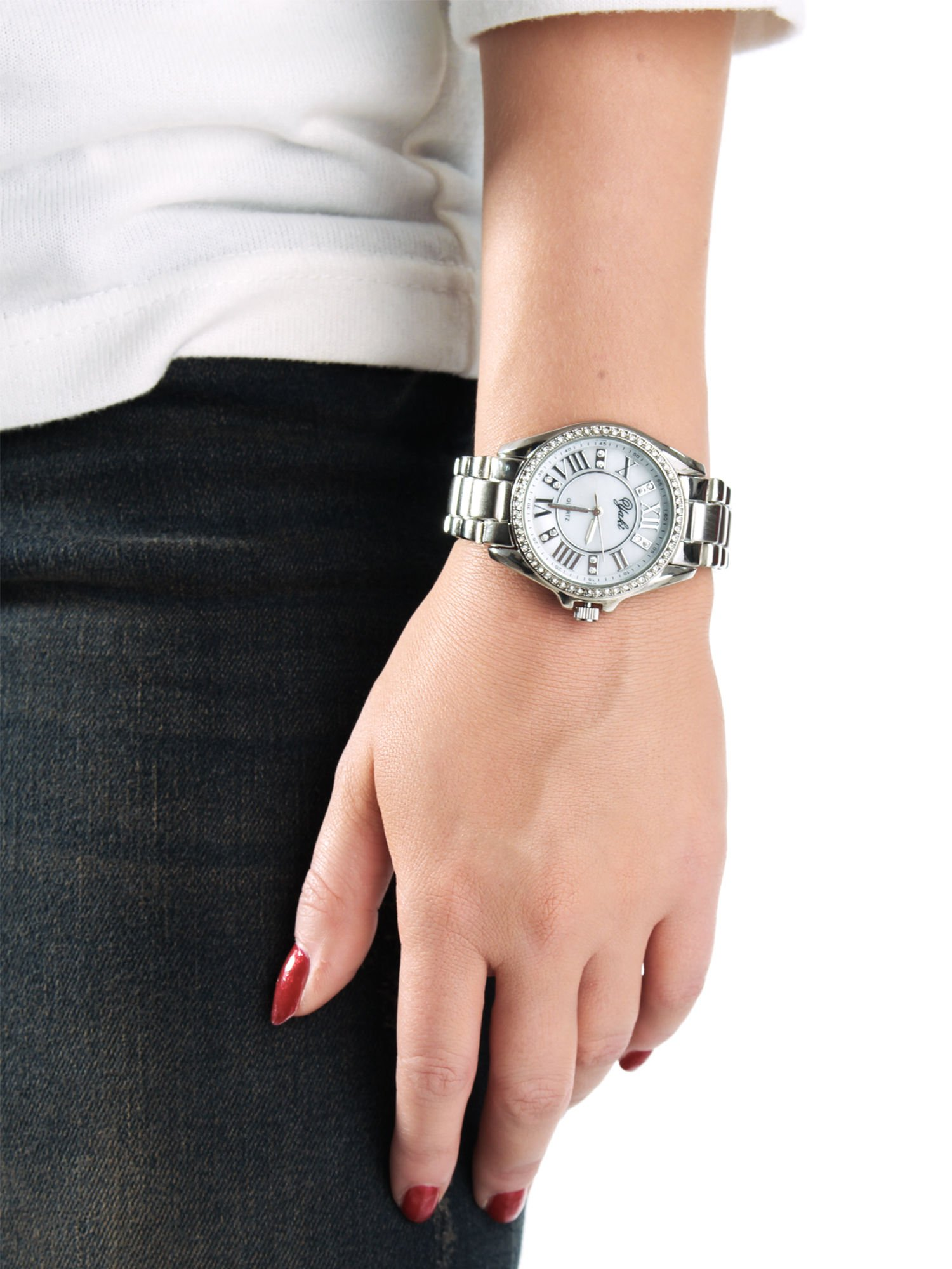 Srebrny zegarek damski z cyrkoniami boyfriend watch                                  zdj.                                  3