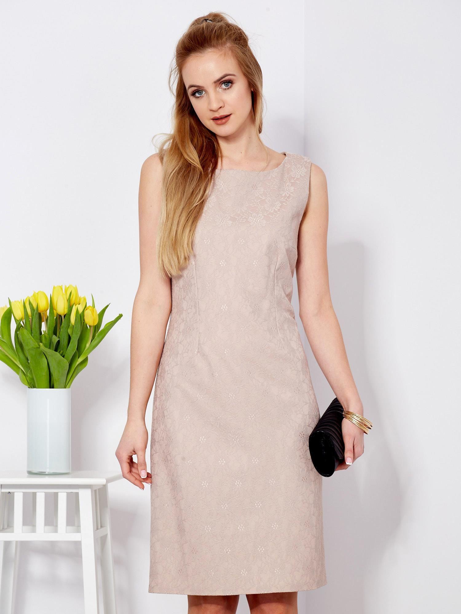 4f904b12dd Sukienka beżowa koronkowa z dekoltem z tyłu - Sukienka plus size ...