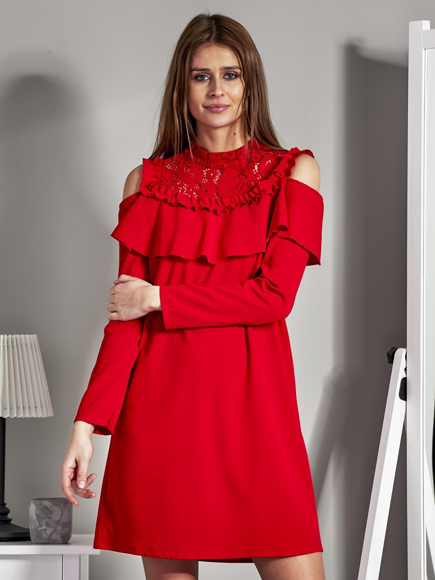 8f47c49463 Sukienka cut out z koronką i falbaną czerwona - Sukienka koktajlowa ...