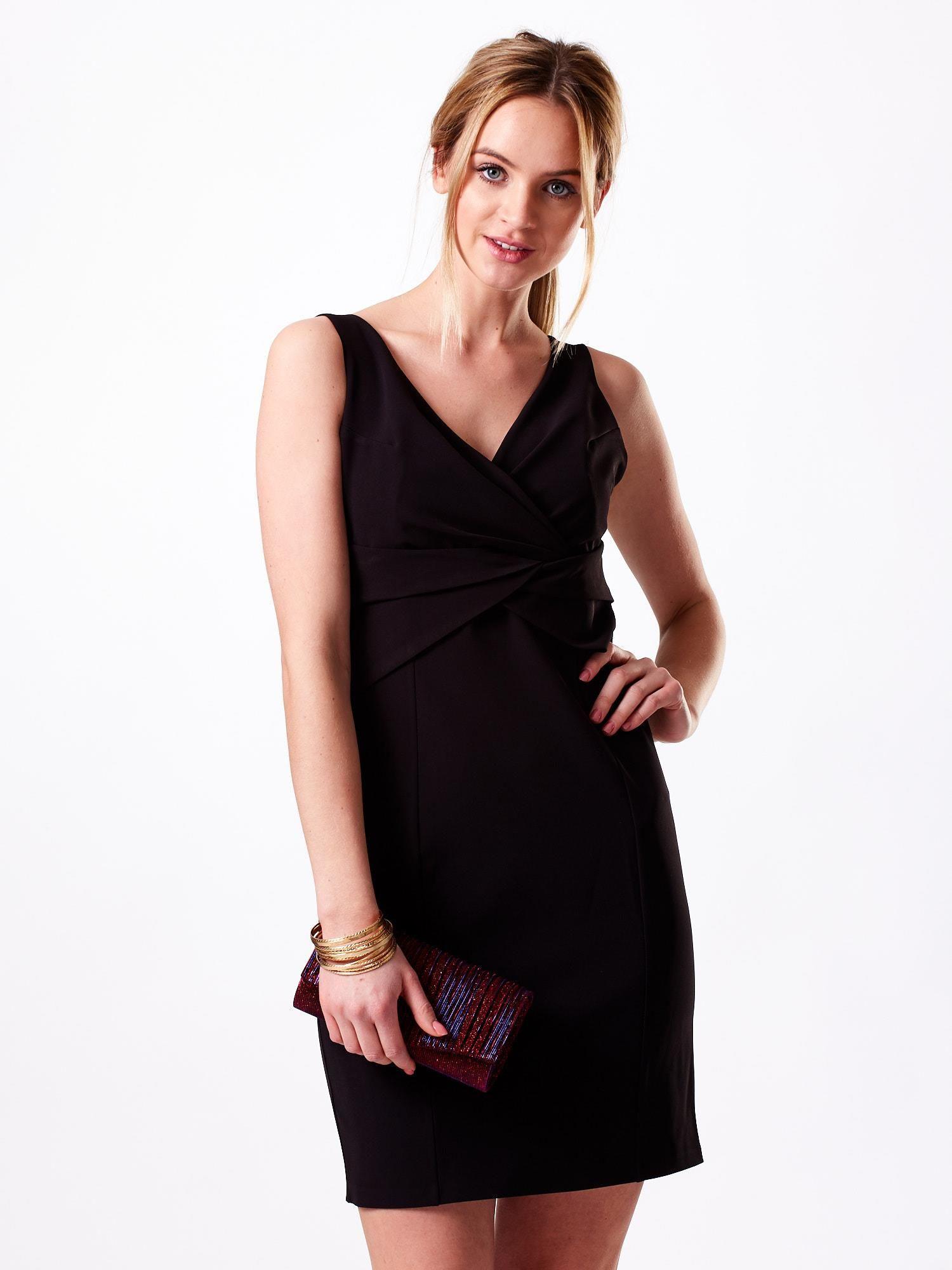 9ea7583593 Sukienka czarna z kopertowym dekoltem - Sukienka koktajlowa - sklep ...