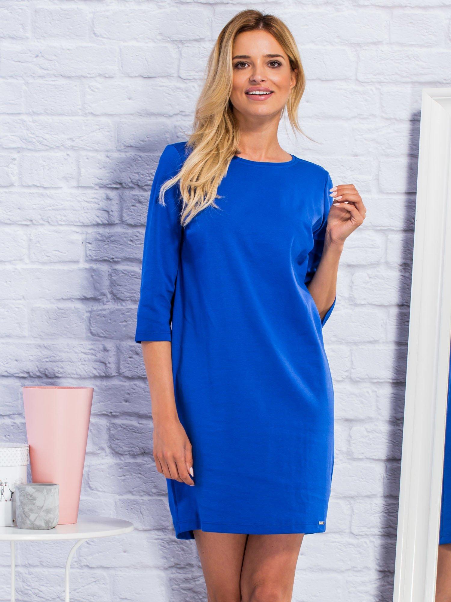 9562be8f8d Sukienka dresowa o pudełkowym kroju ciemnoniebieska - Sukienka na co dzień  - sklep eButik.pl
