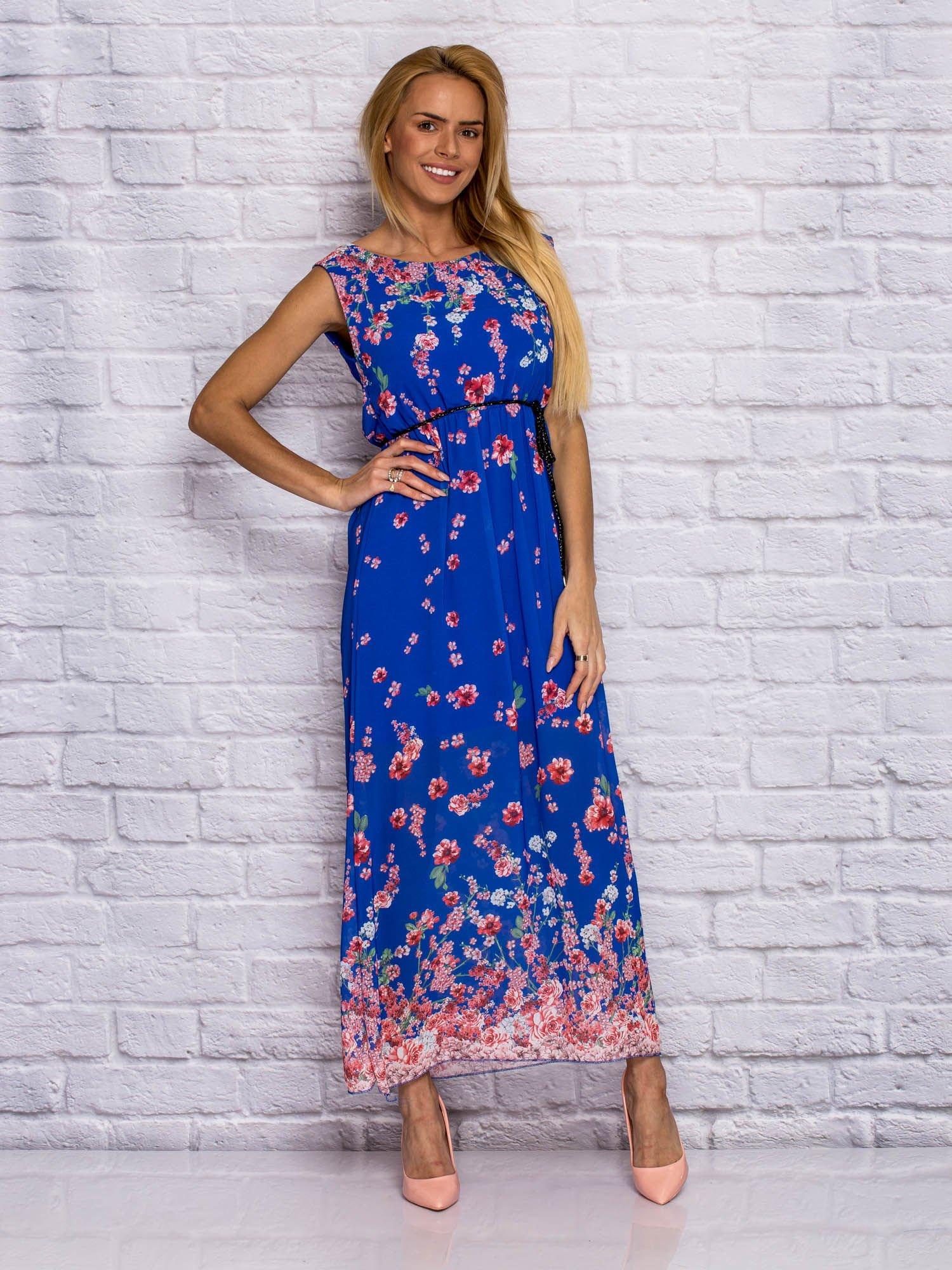 94066a603a Sukienka letnia maxi w delikatny kwiatowy wzór niebieska - Sukienka ...