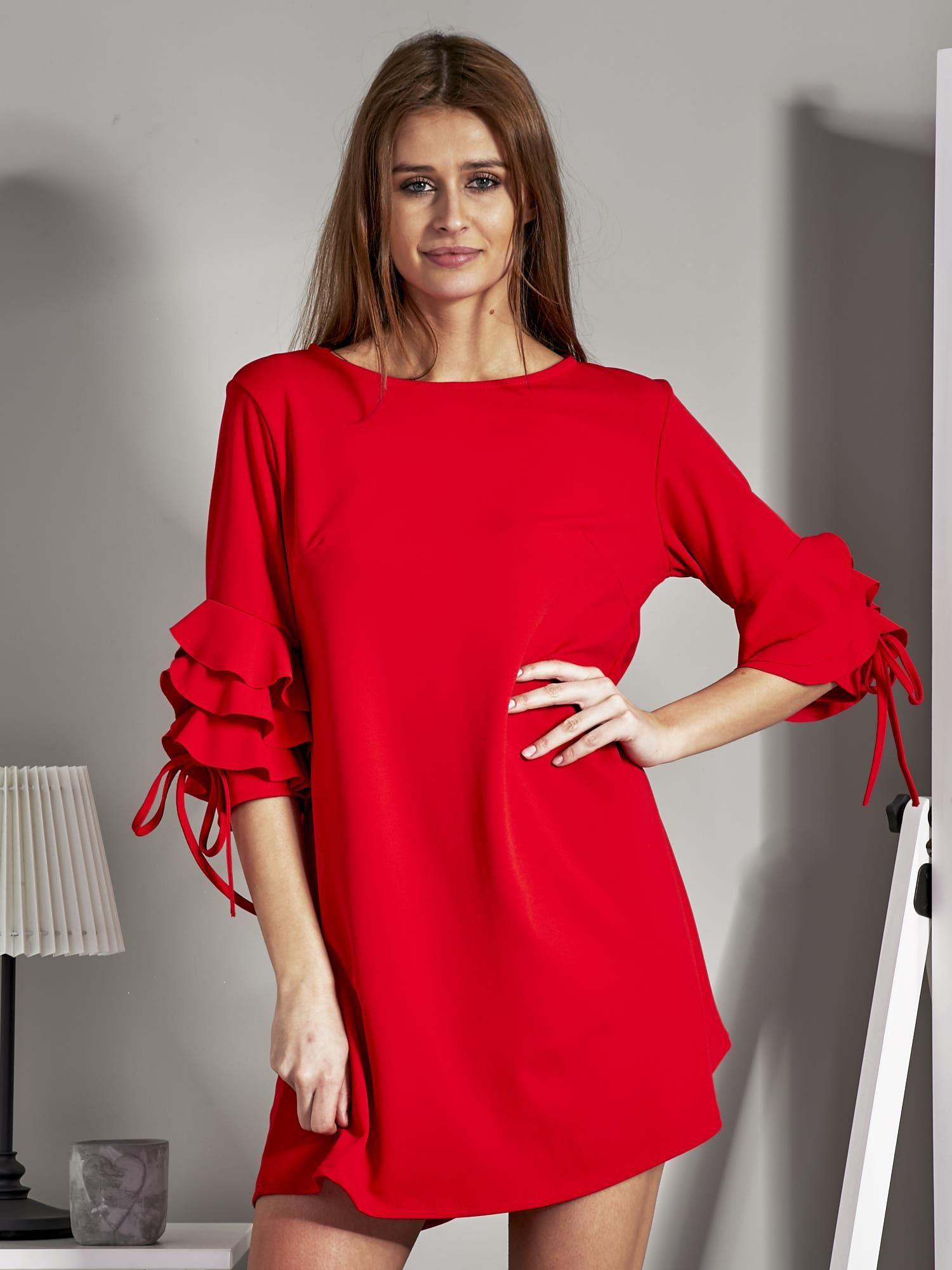 5dfae8e2fc Sukienka trapezowa z falbankami na rękawach czerwona - Sukienka ...