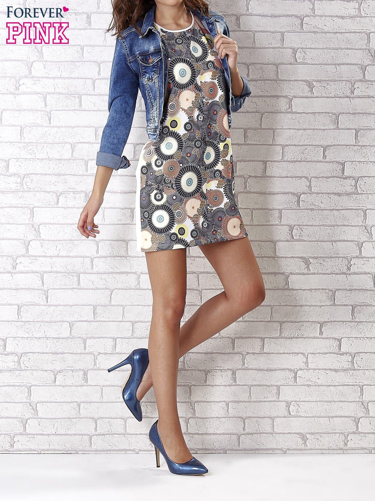 Sukienka z okrągłym kwiatowym nadrukiem                                  zdj.                                  2
