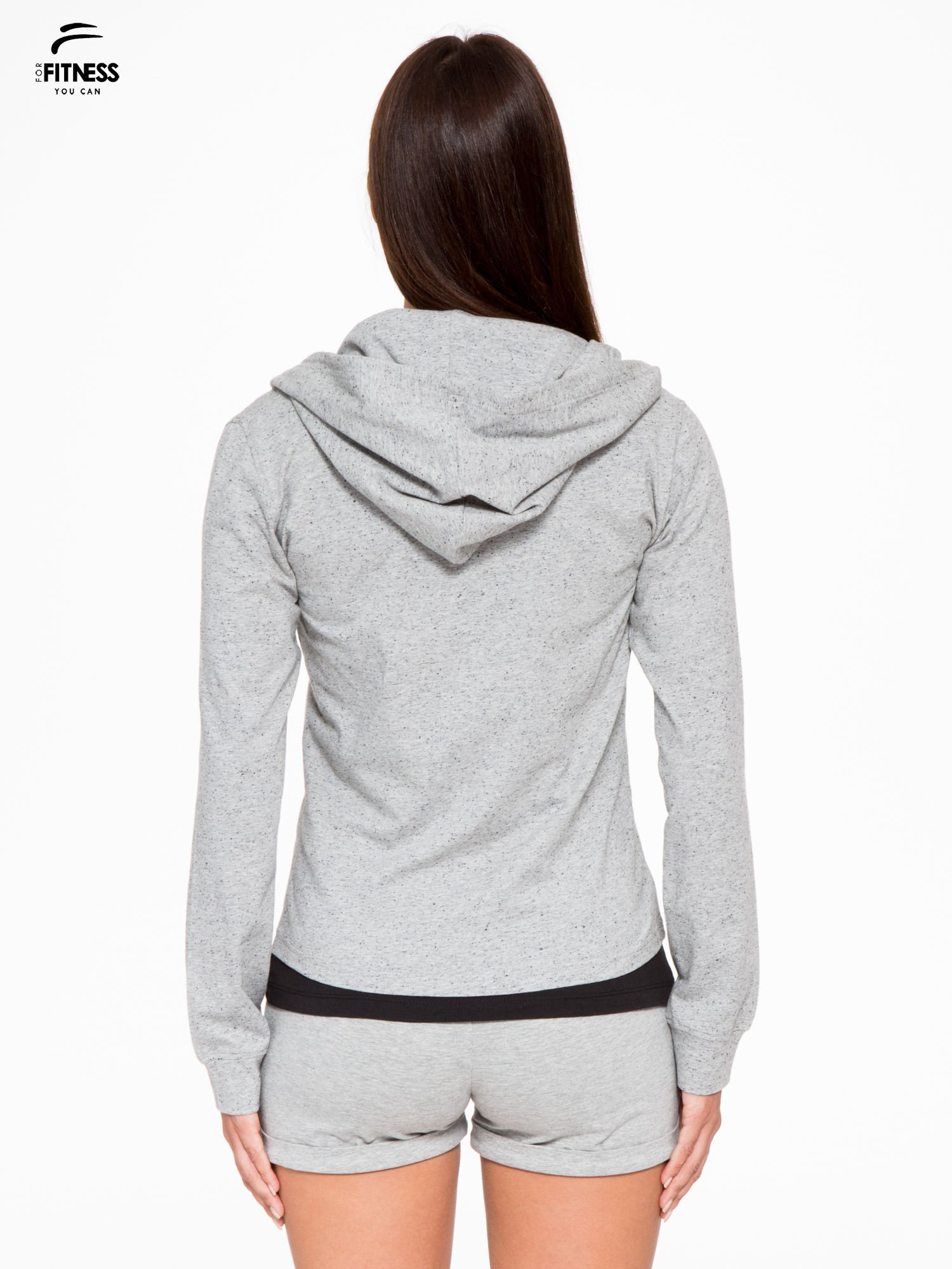 Szara bluza dresowa z asymetrycznym suwakiem i kapturem                                  zdj.                                  4