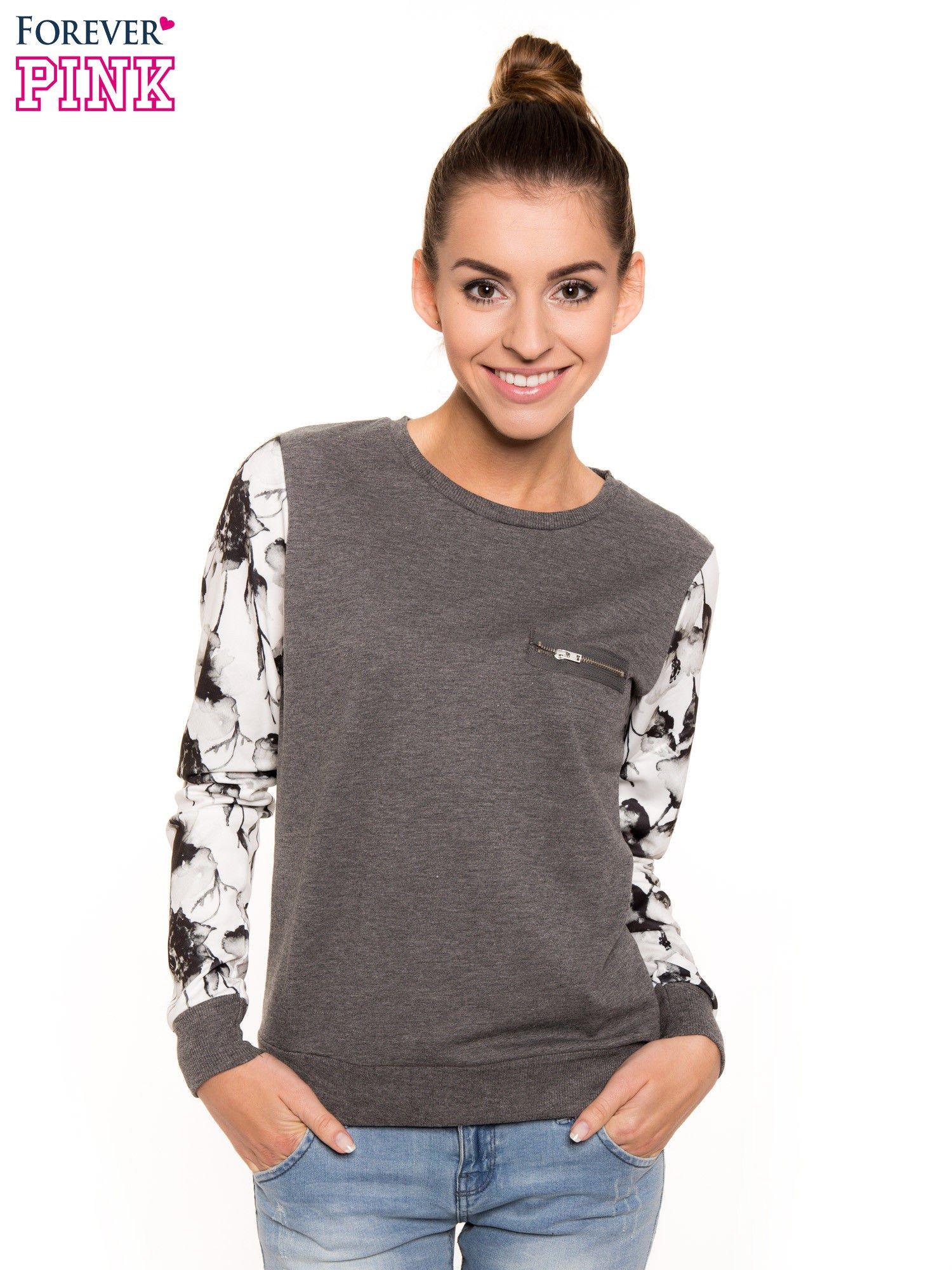 Szara bluza dresowa z rękawami w motyw kwiatowy                                  zdj.                                  1