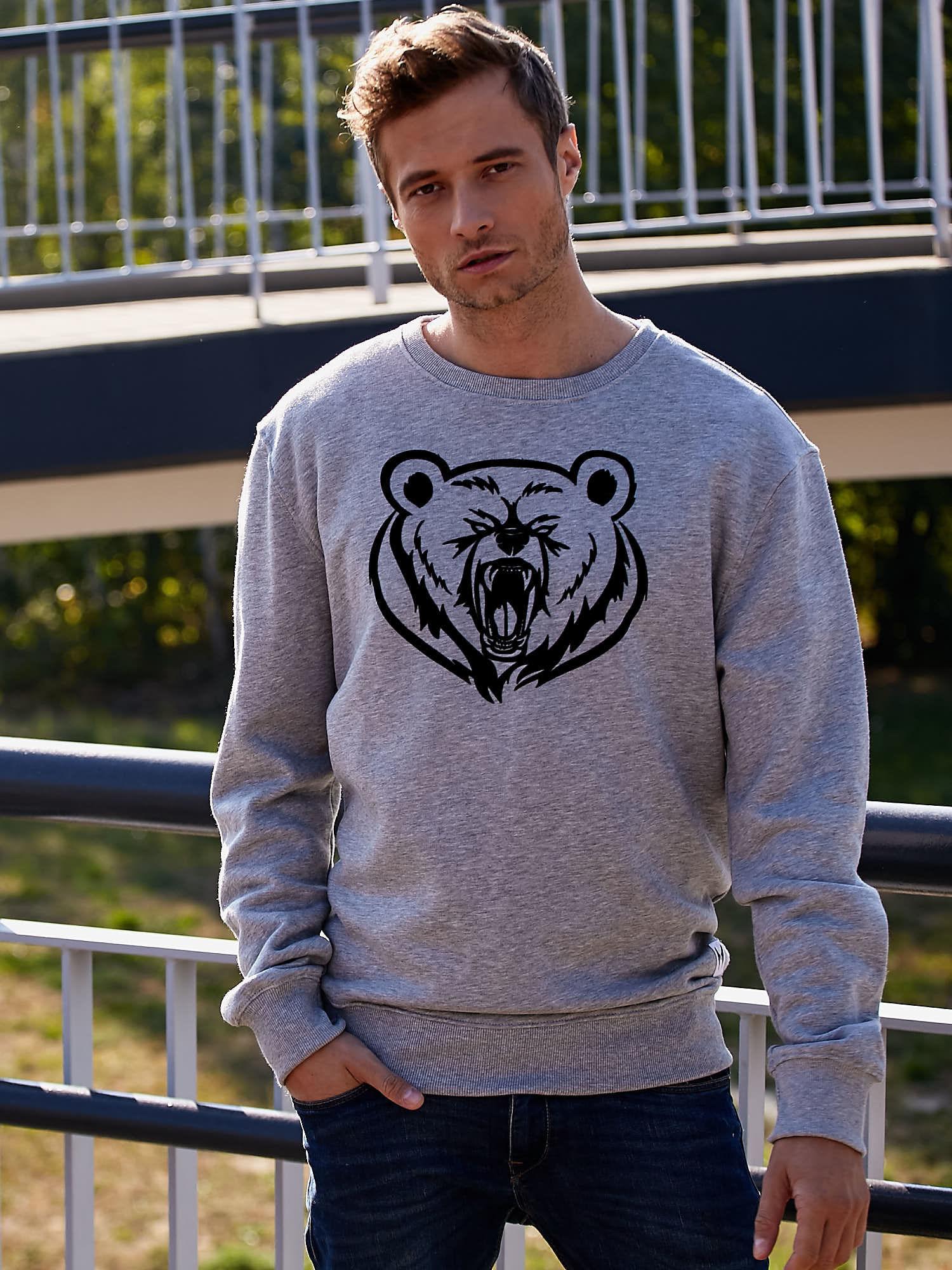Szara bluza męska z niedźwiedziem                                  zdj.                                  1
