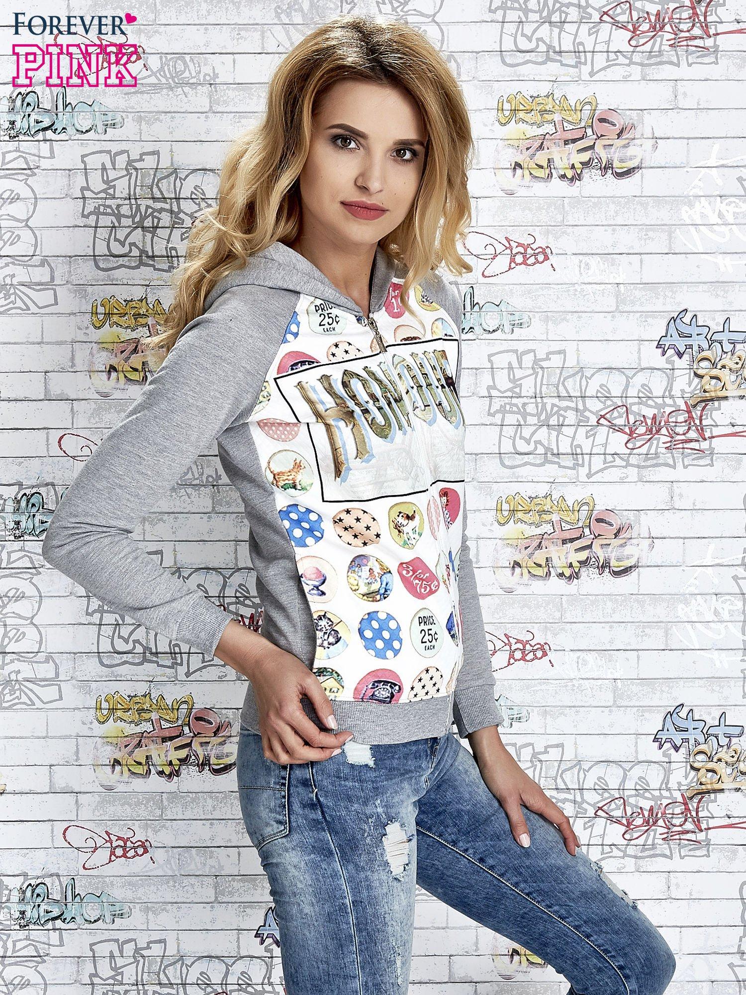 Szara bluza z kapturem i napisem HONOUR                                  zdj.                                  3