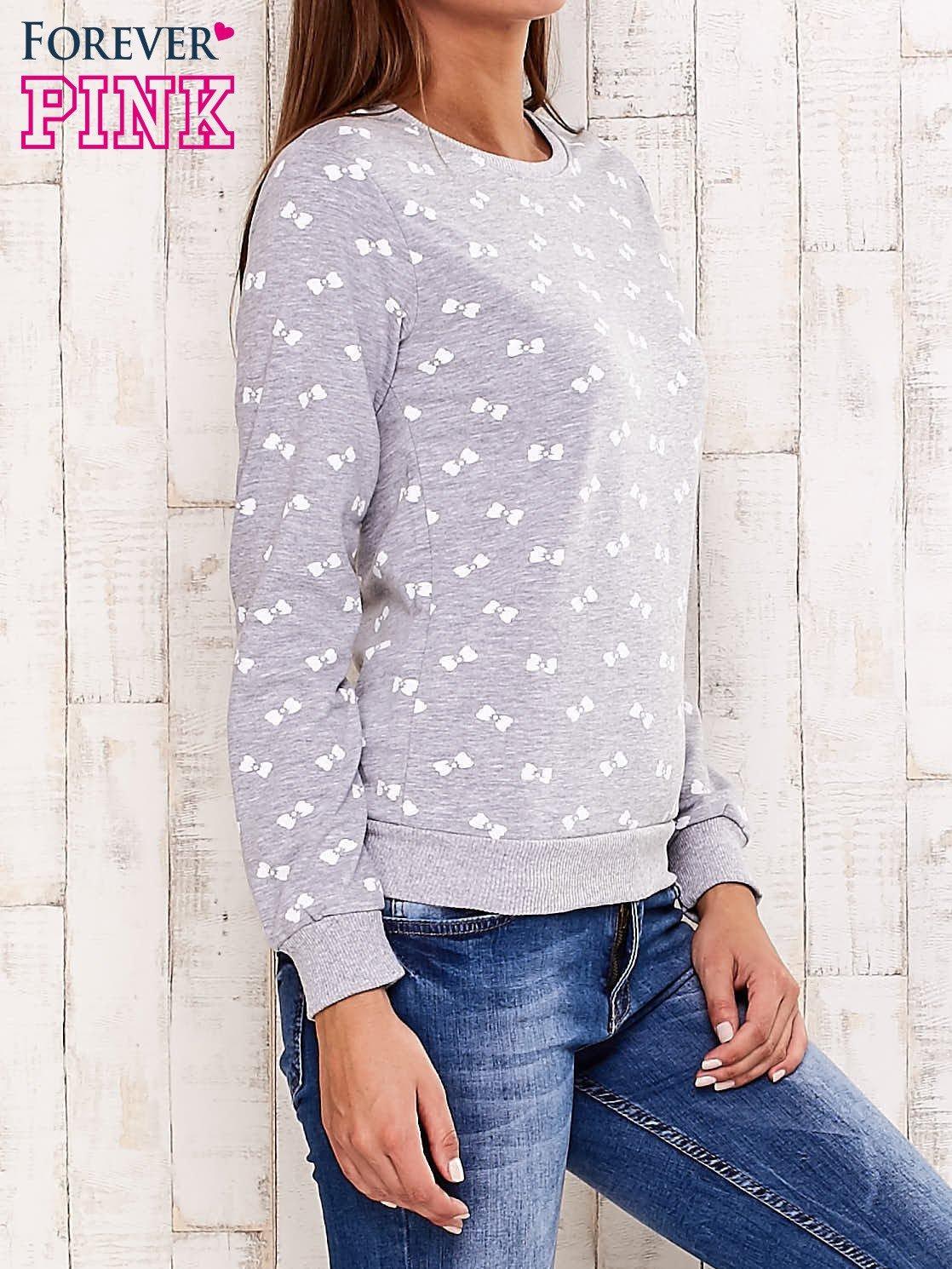 Szara bluza z motywem kokardek                                  zdj.                                  3