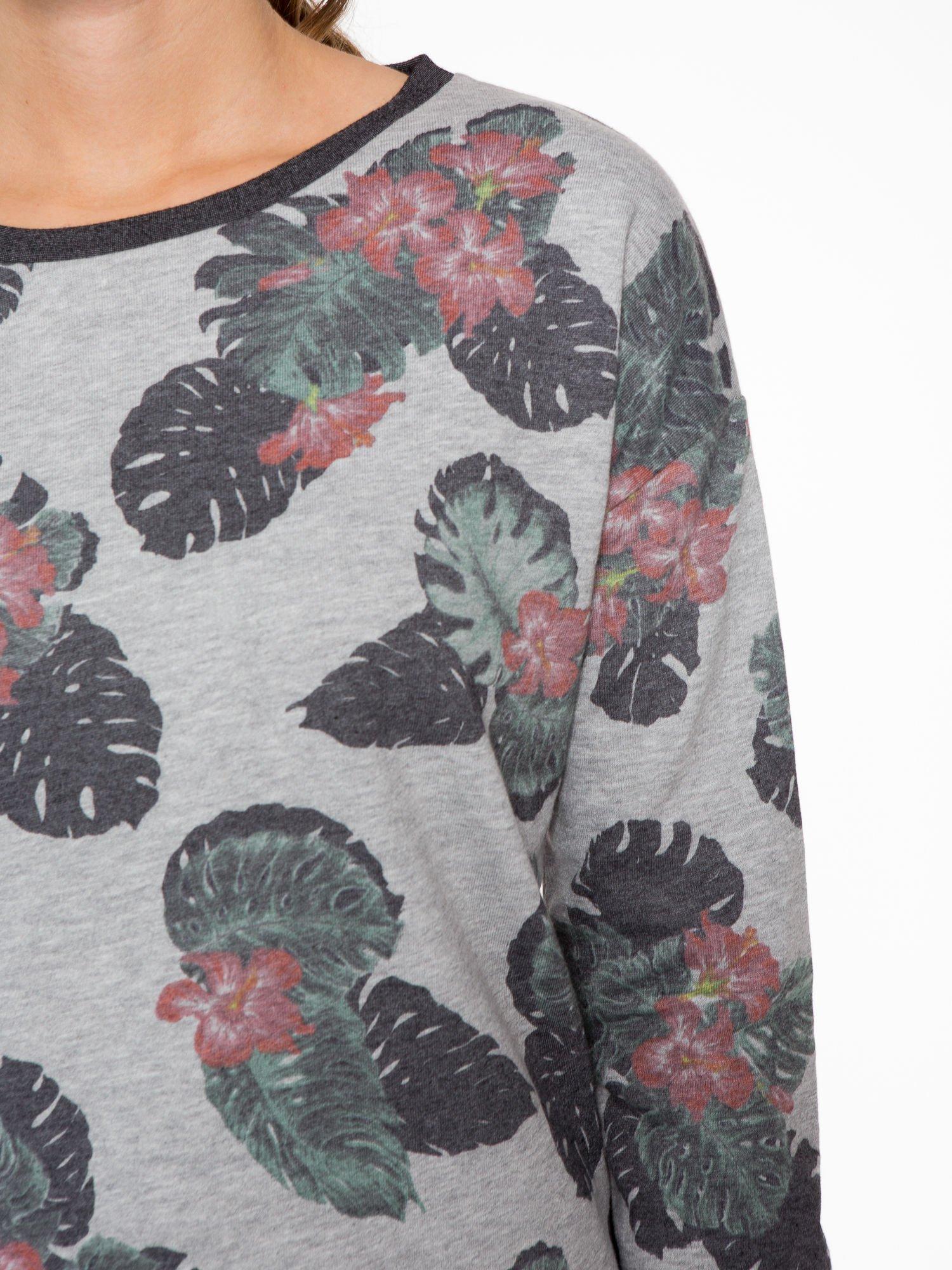Szara bluza z nadrukiem floral print                                  zdj.                                  6