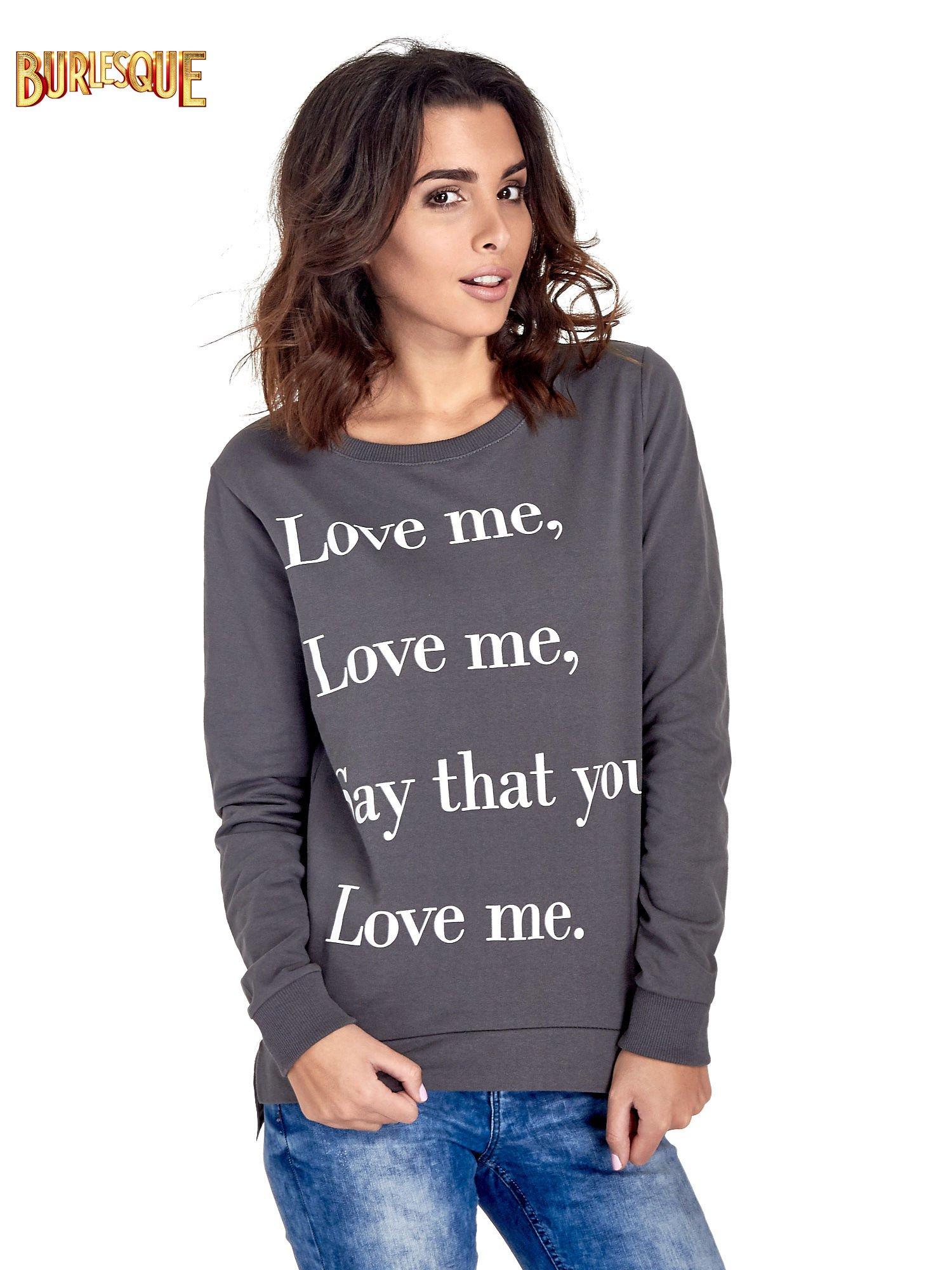 Szara bluza z napisem LOVE ME i dłuższym tyłem                                  zdj.                                  1