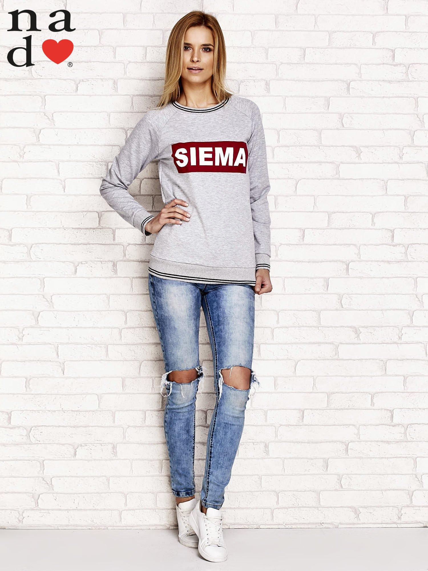 Szara bluza z napisem SIEMA                                  zdj.                                  4