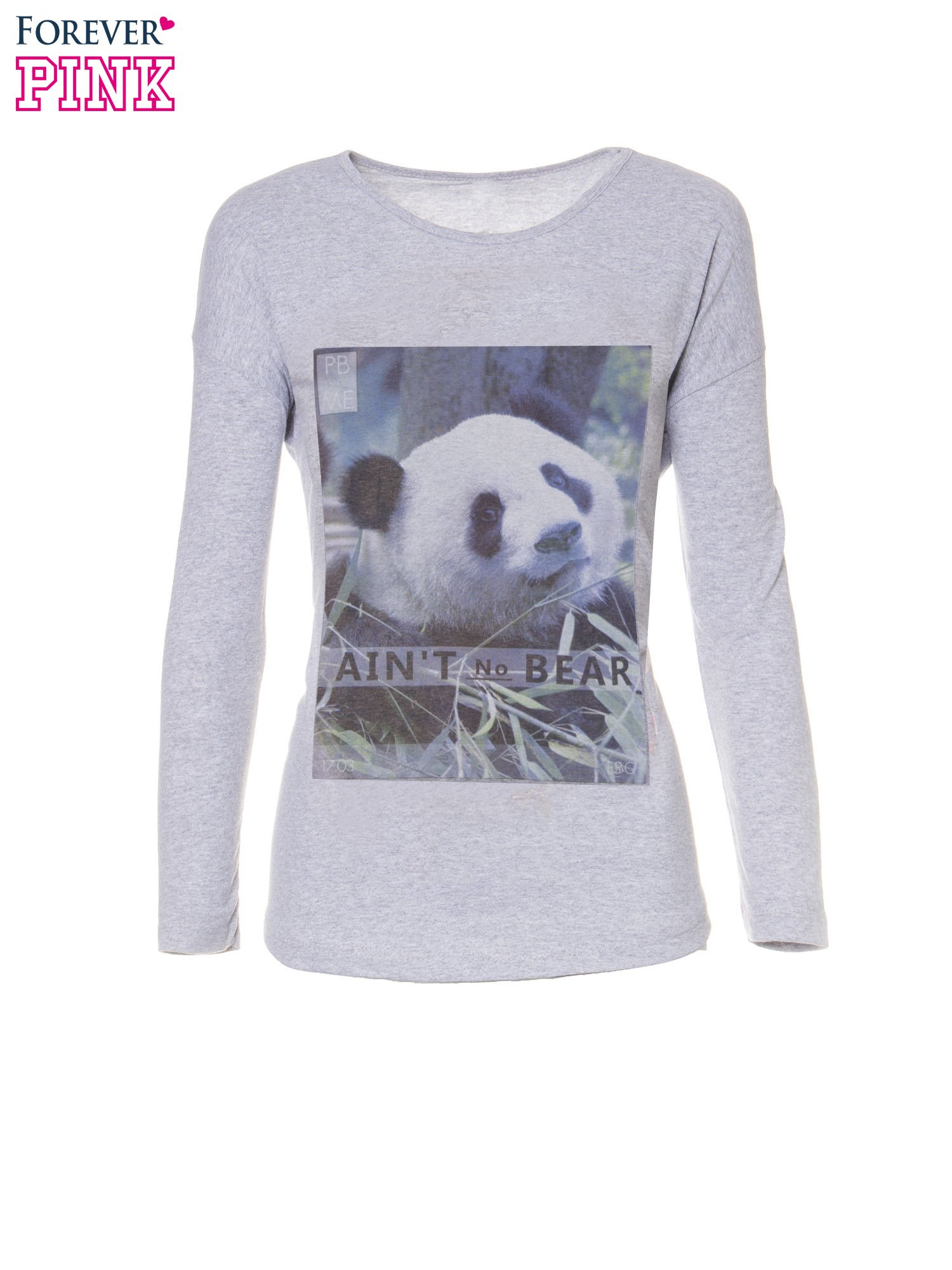 Szara bluzka z nadrukiem pandy                                  zdj.                                  5