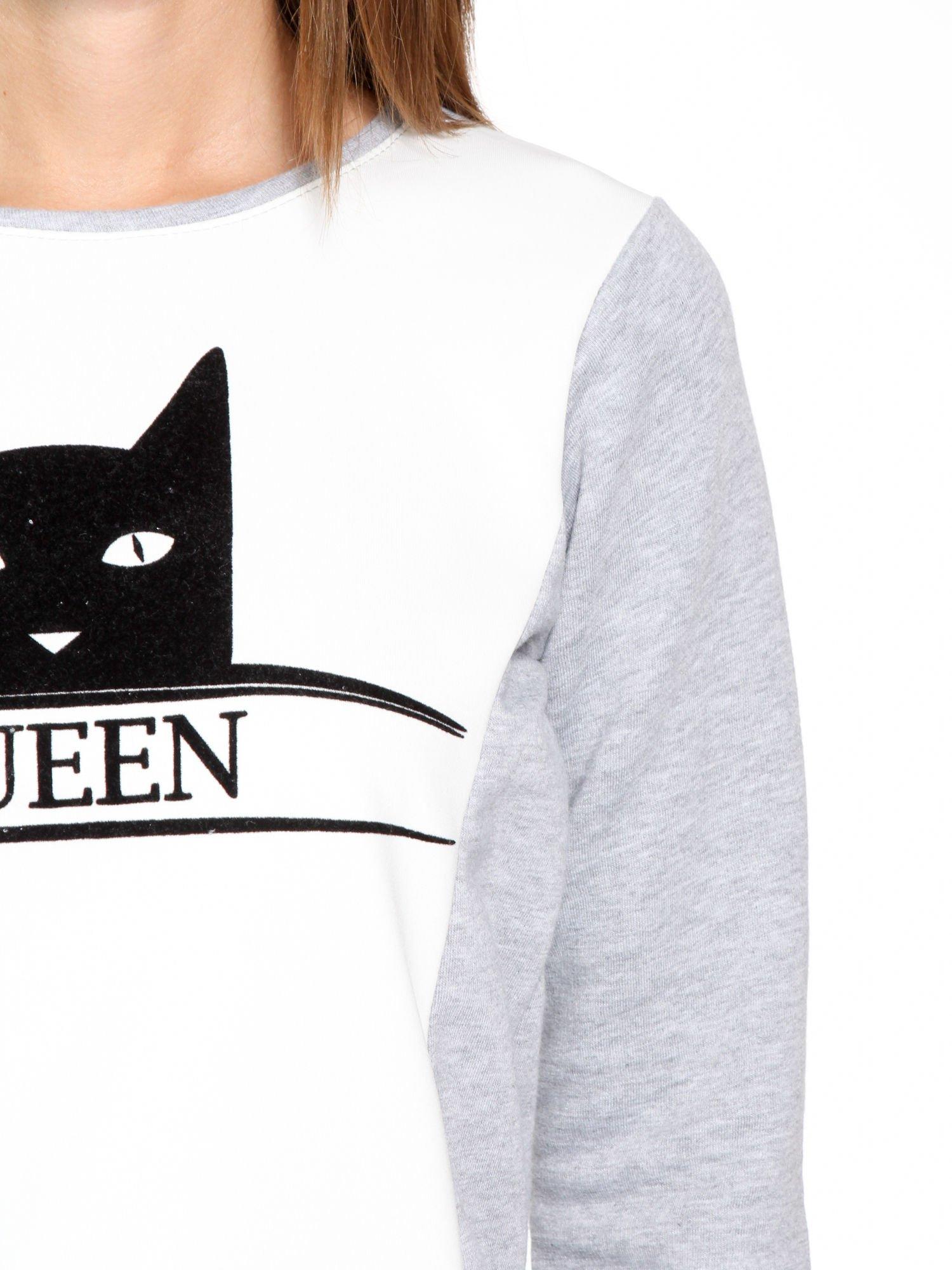 Szara dresowa bluza z nadrukiem kota i napisem QUEEN                                  zdj.                                  6