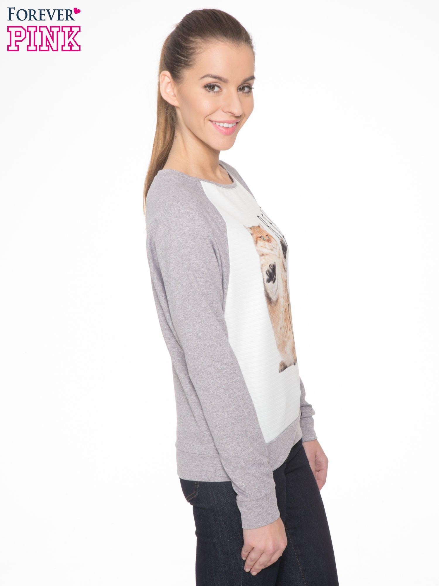 Szara dresowa bluza z nadrukiem kota i napisem RĘCE DO GÓRY                                  zdj.                                  3
