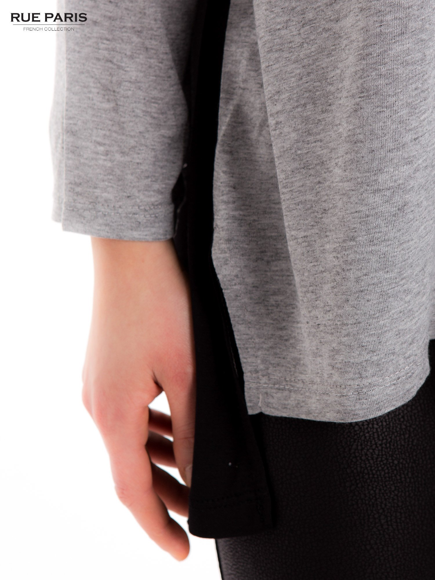 Szara dresowa bluzka z przedłużanym tyłem w kolorze czarnym                                  zdj.                                  6