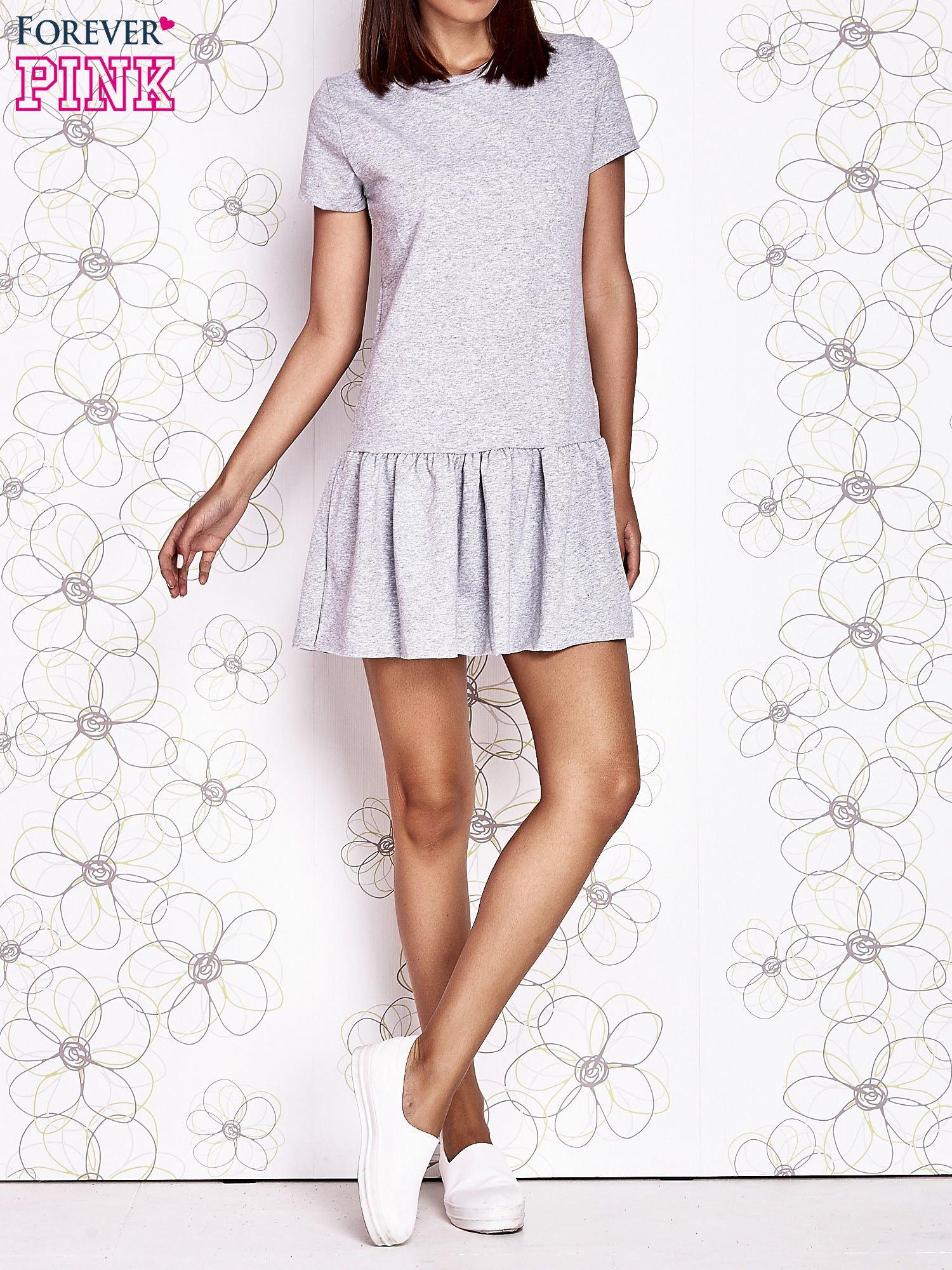 Szara dresowa sukienka z wycięciem na plecach                                   zdj.                                  6