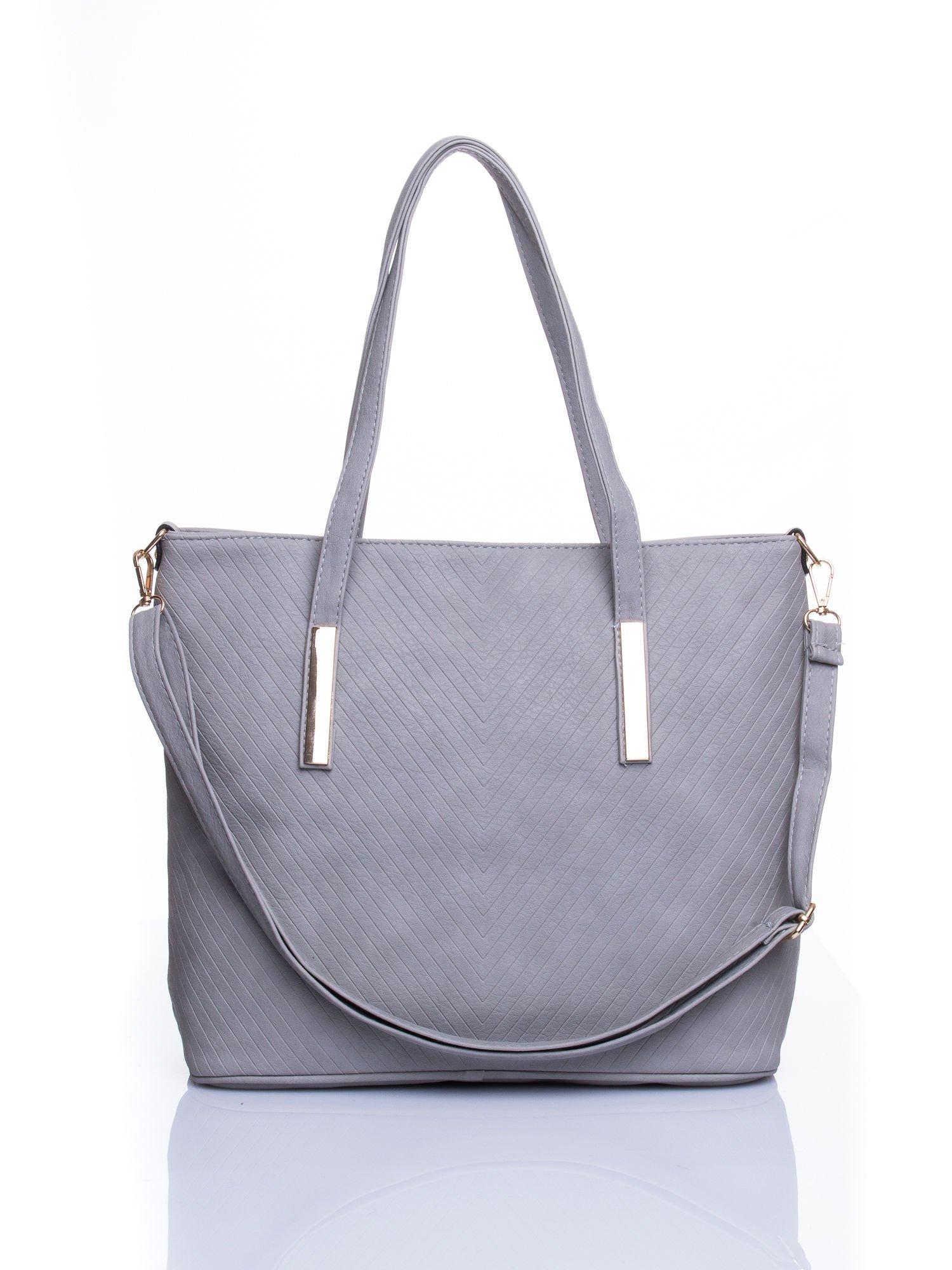 Szara fakturowana torba shopper bag                                  zdj.                                  1