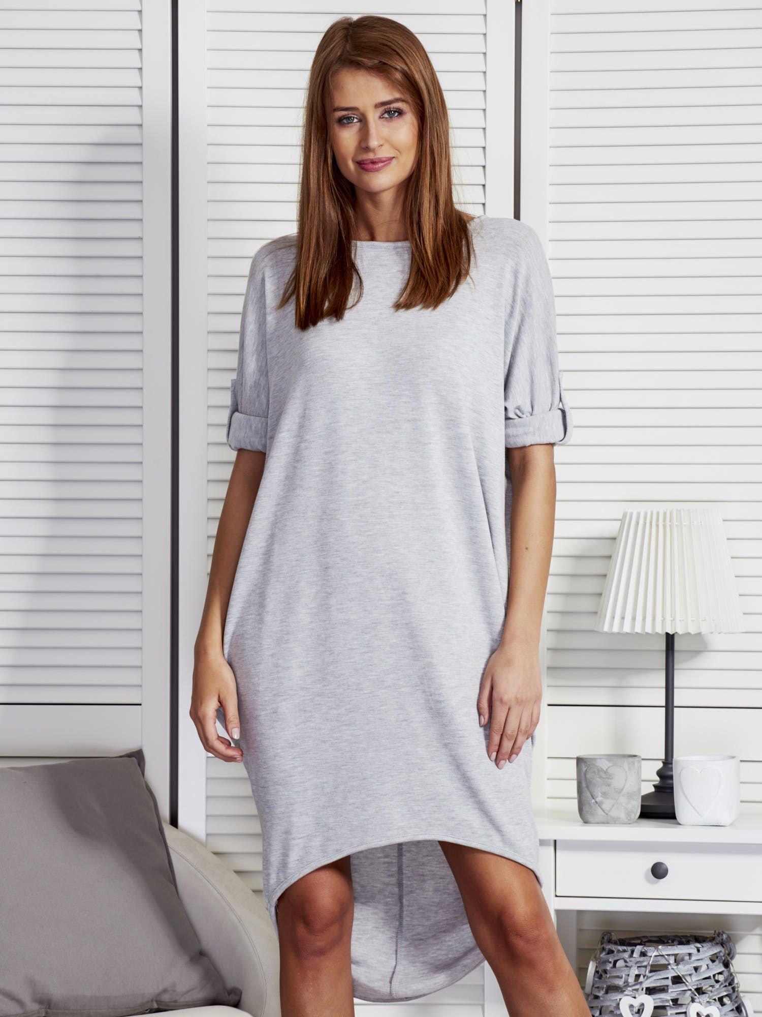 a88462e5bcc925 Szara luźna sukienka z podwijanymi rękawami - Sukienka na co dzień - sklep  eButik.pl
