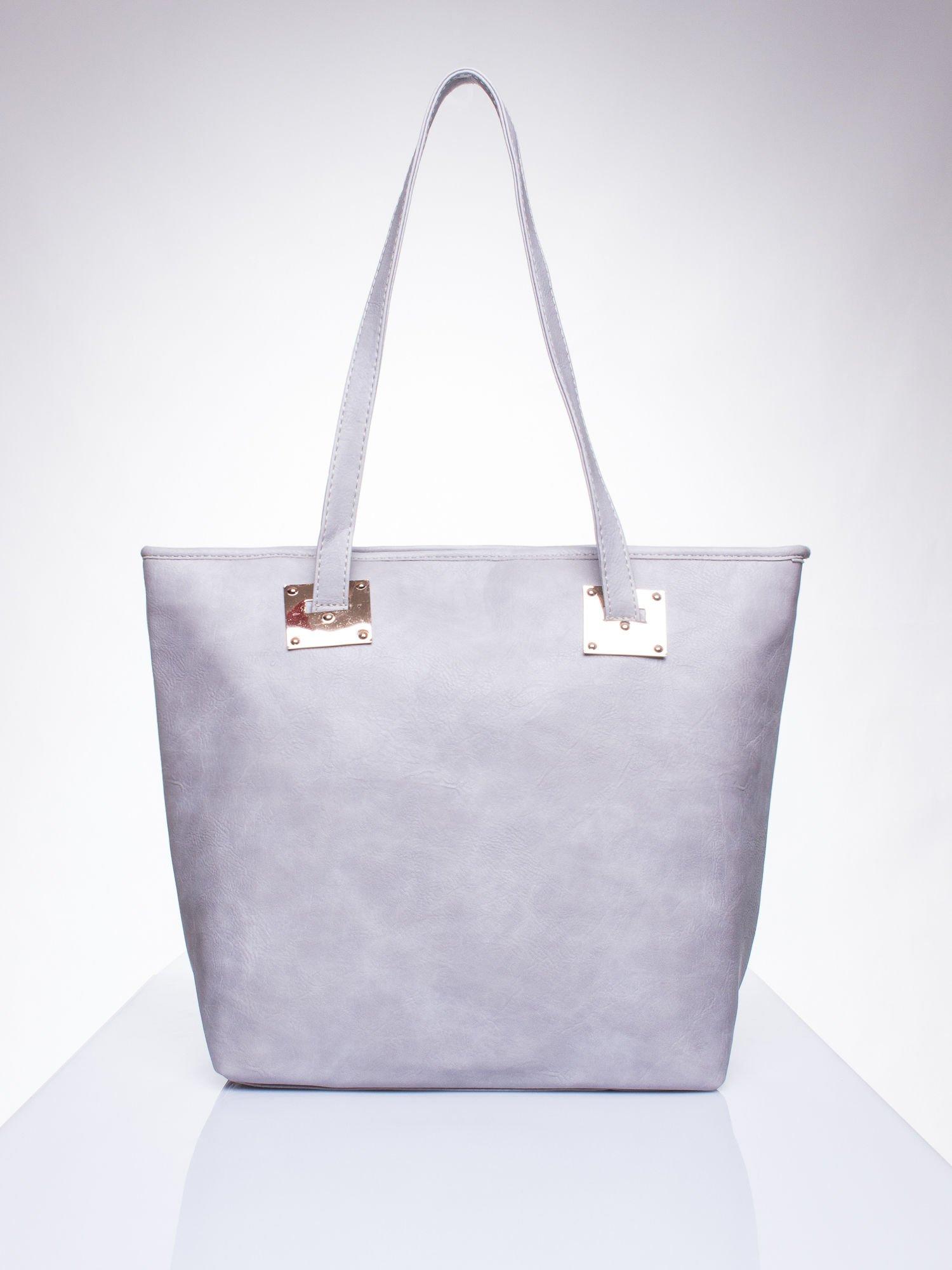 Szara prosta torba shopper bag ze złotymi okuciami                                  zdj.                                  1