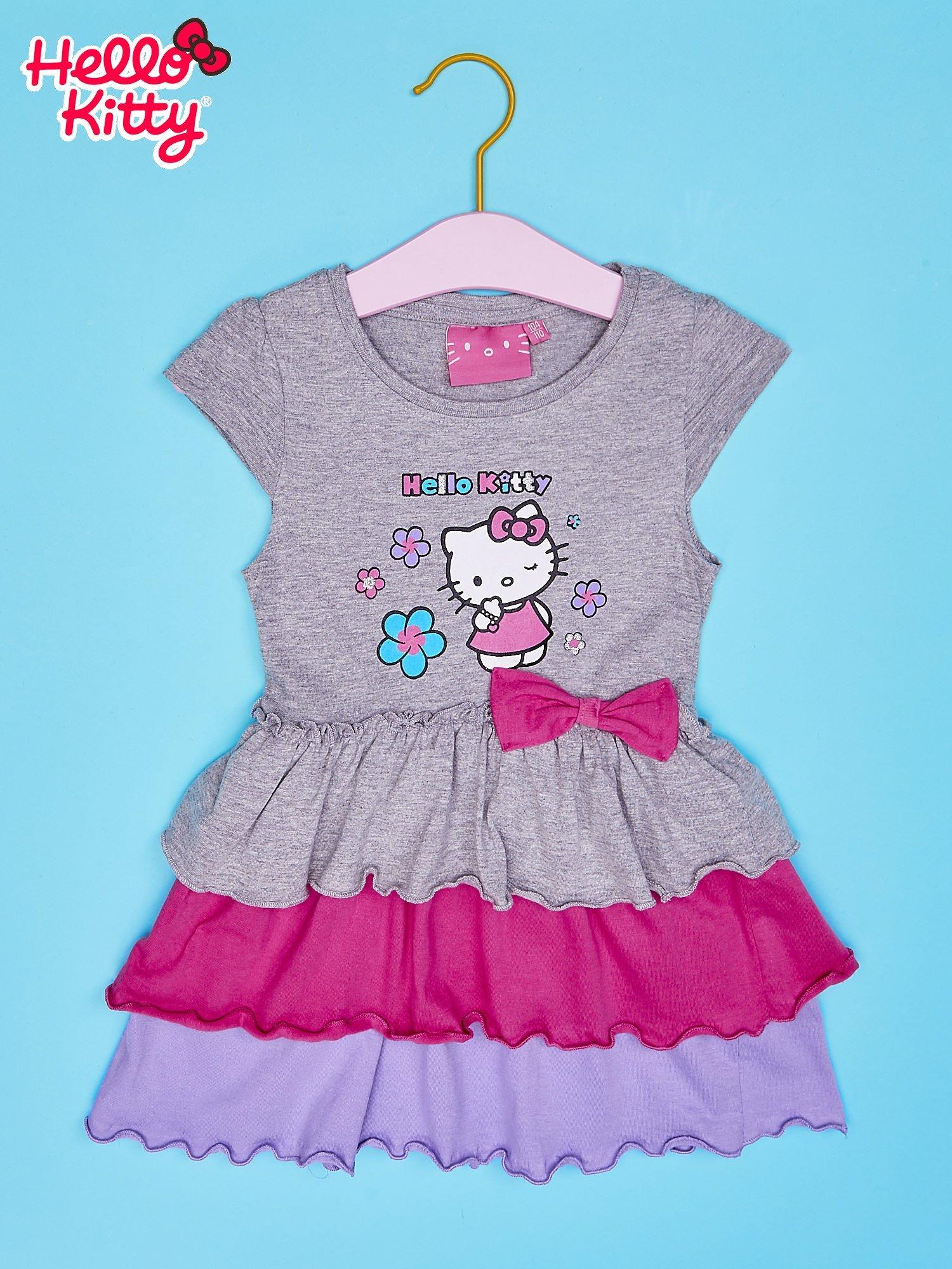 Szara spódnica dla dziewczynki HELLO KITTY z kokardką                                  zdj.                                  1