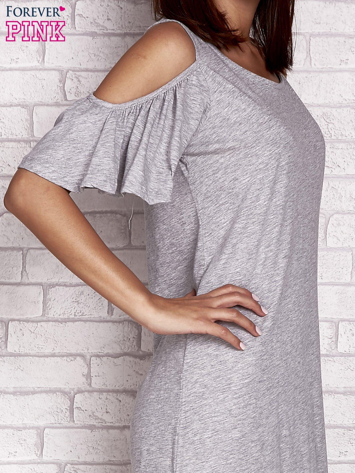 Szara sukienka z rękawami cut out                                  zdj.                                  5