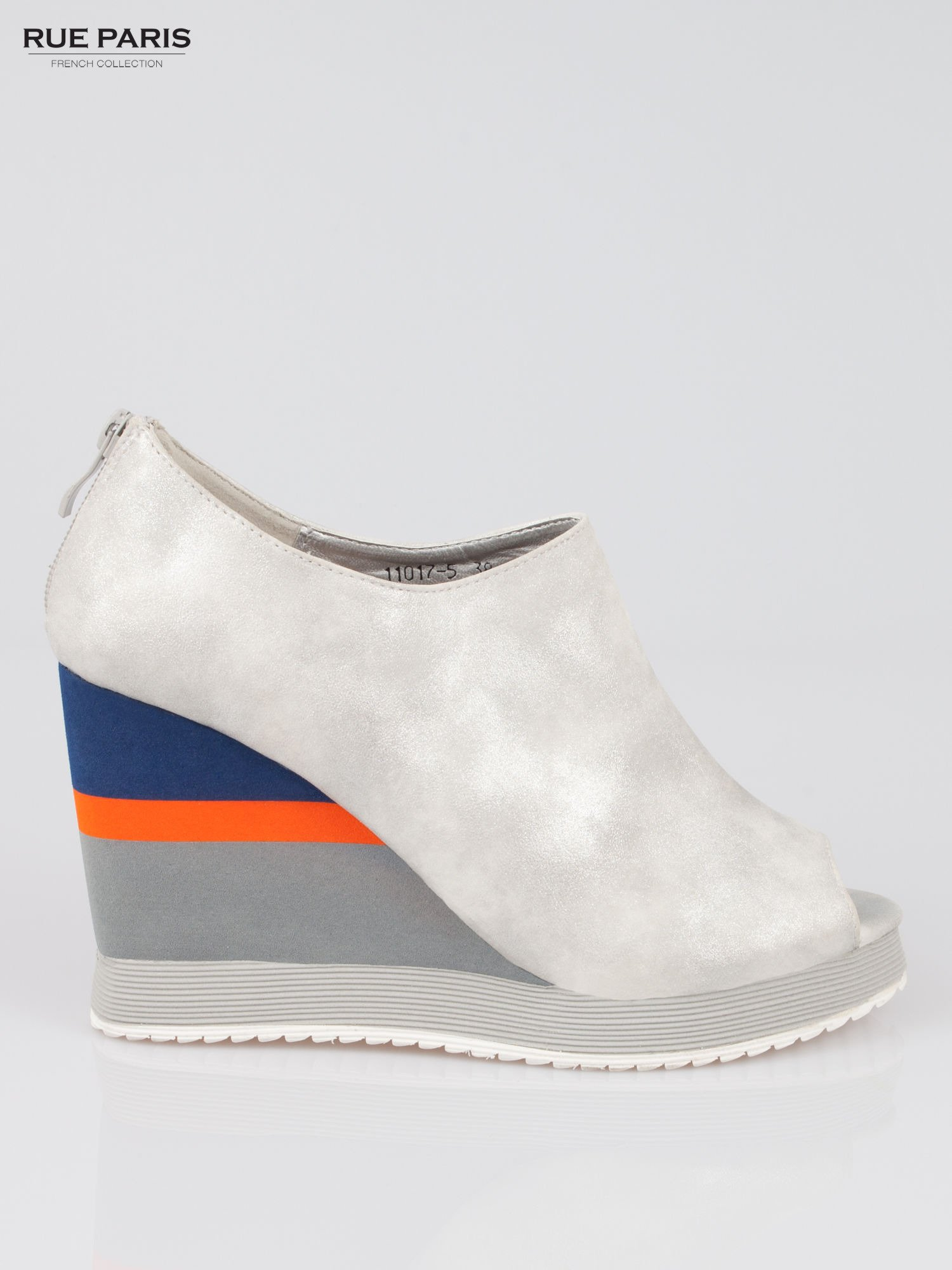Szare buty open toe na koturnie w paski                                  zdj.                                  1