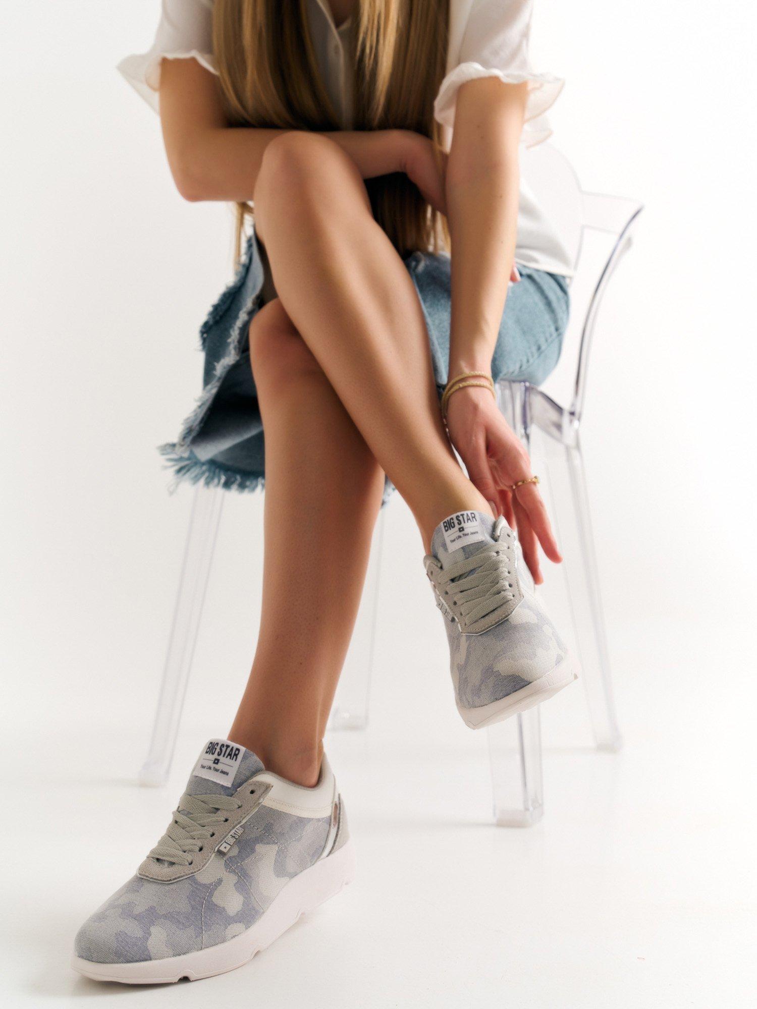 0cd229c6f8aef Szare buty sportowe moro Big Star z lustrzaną wstawką nad piętą - Buty Buty  sportowe - sklep eButik.pl