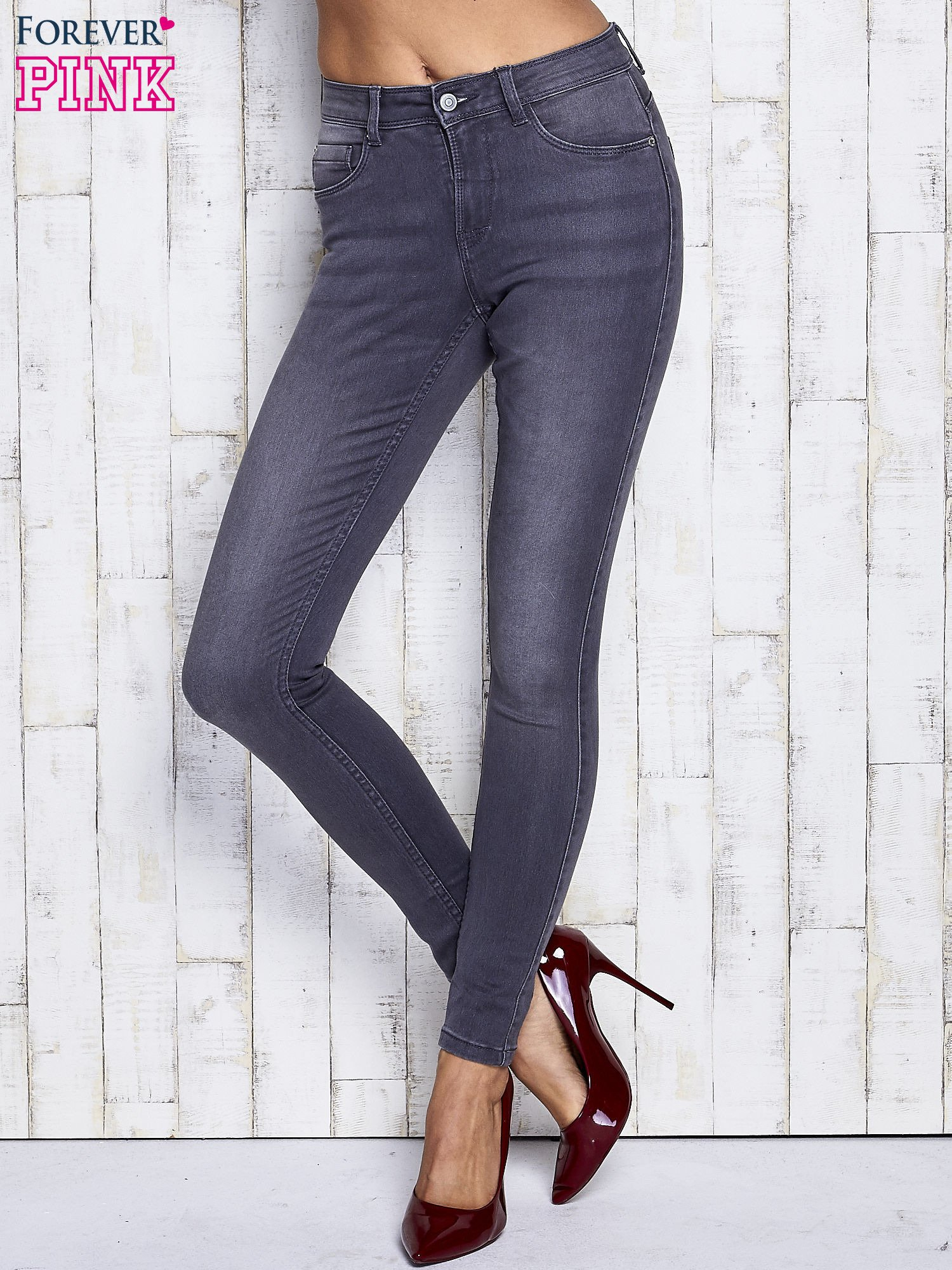 Szare dopasowane spodnie jeansowe                                   zdj.                                  1