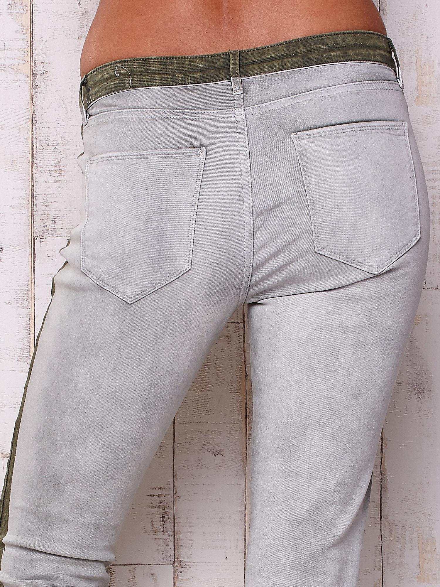 Szare jeansowe spodnie z efektem wytarcia PLUS SIZE                                  zdj.                                  5