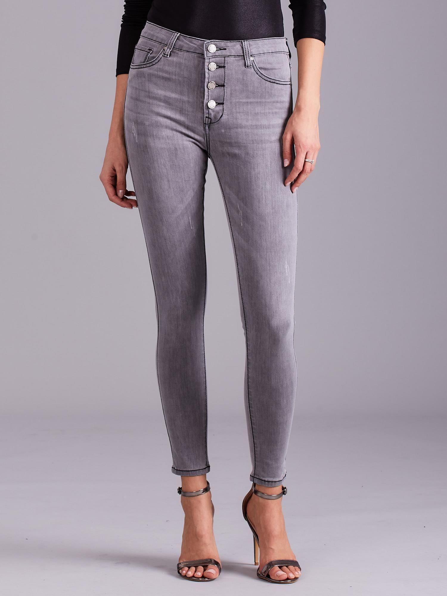 ce760e041d Szare jeansy damskie z wysokim stanem - Spodnie jeansowe - sklep ...