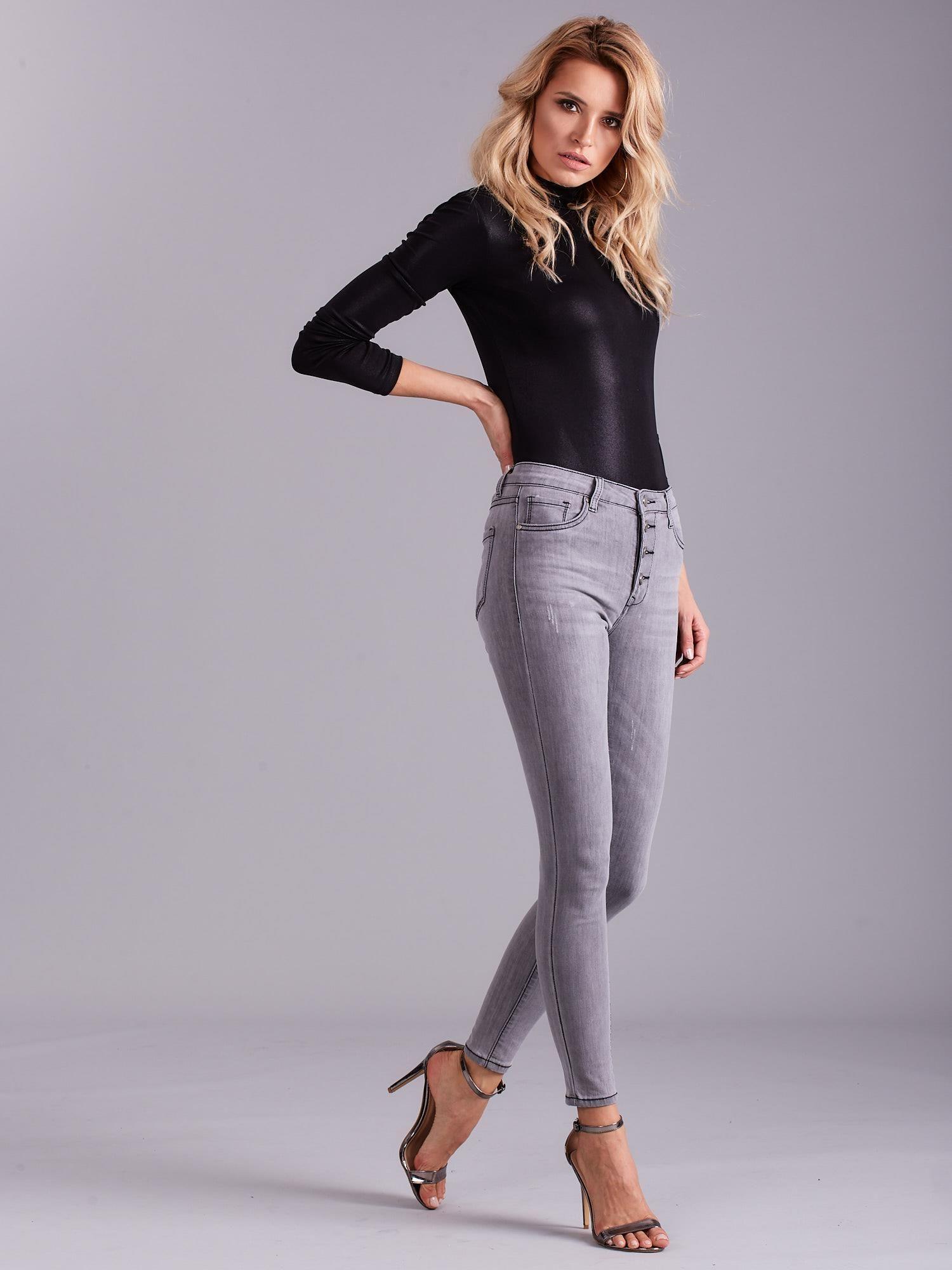 06bddc49bb Szare jeansy damskie z wysokim stanem - Spodnie jeansowe - sklep eButik.pl