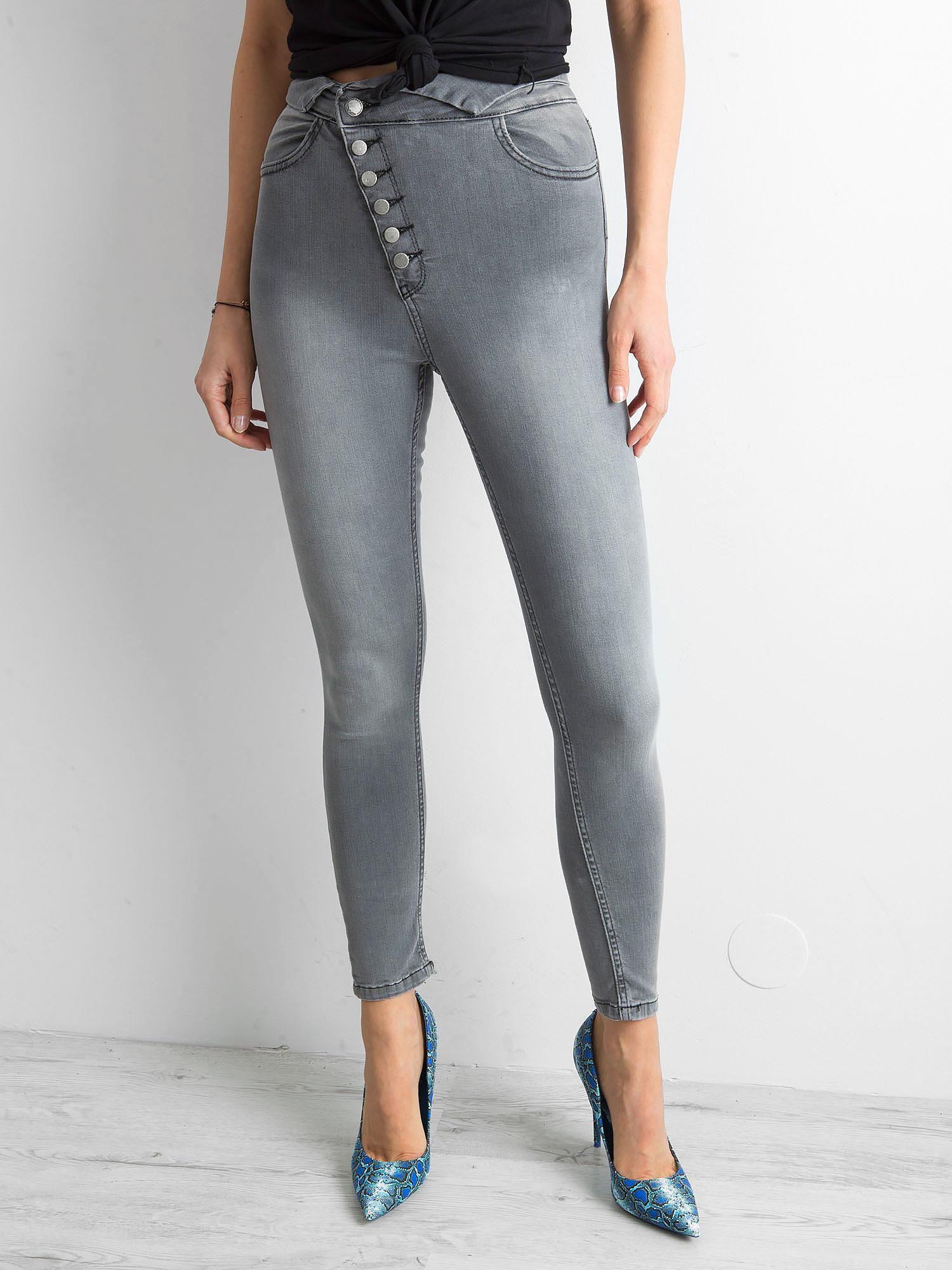 27ecf8b2 Szare jeansy skinny high waist