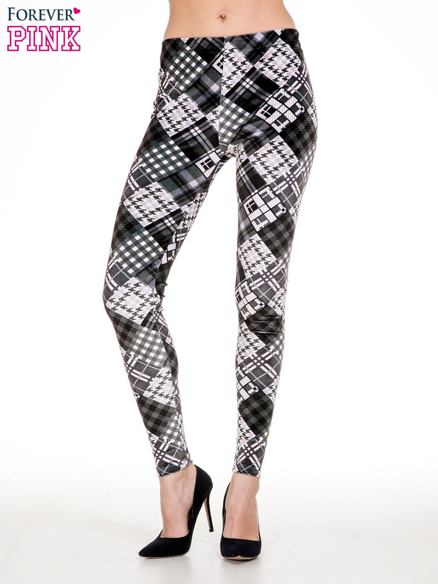 Szare legginsy w patchworkowe wzory w kratę                                  zdj.                                  1