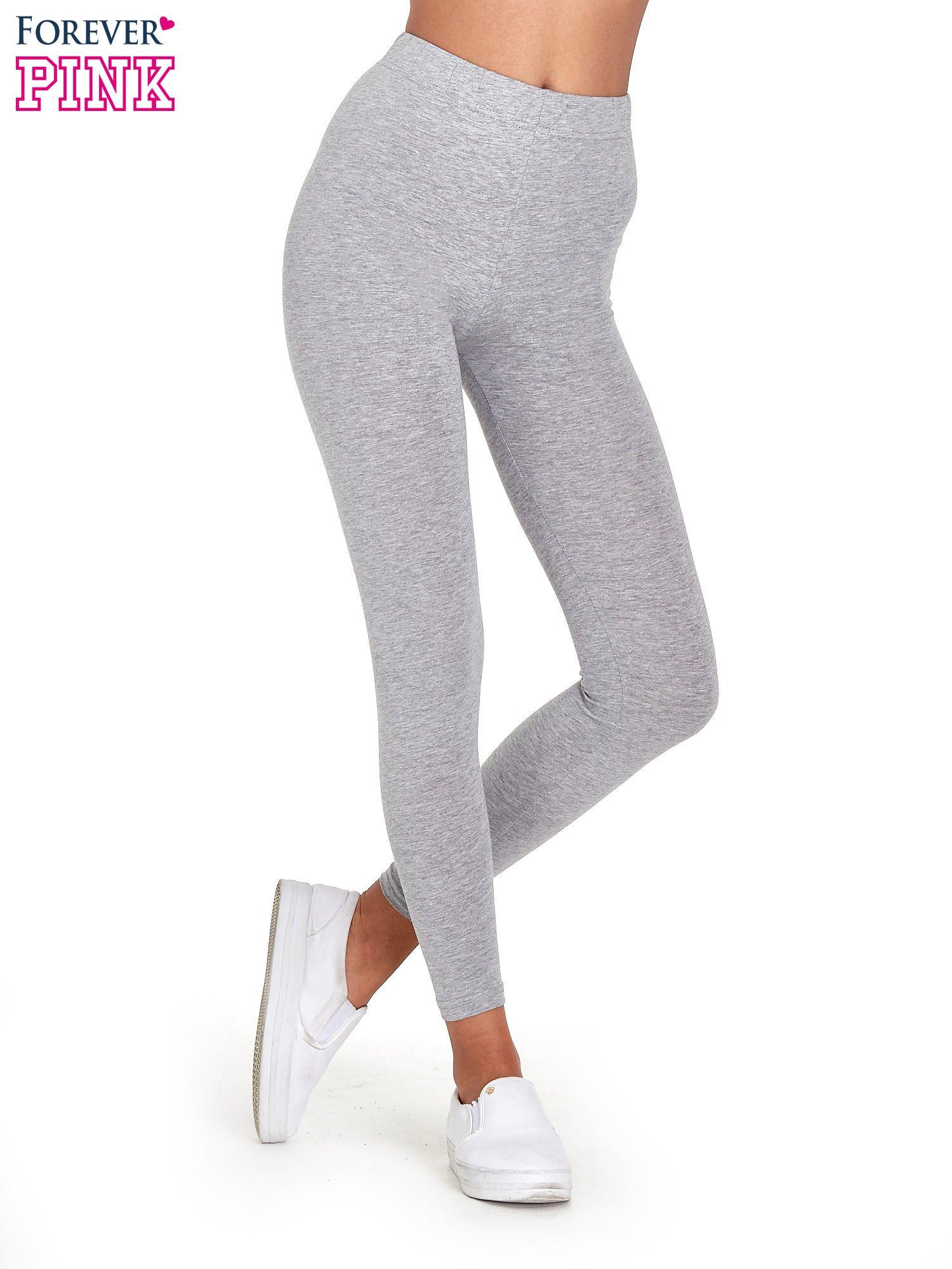 Szare melanżowe legginsy damskie basic                                  zdj.                                  1