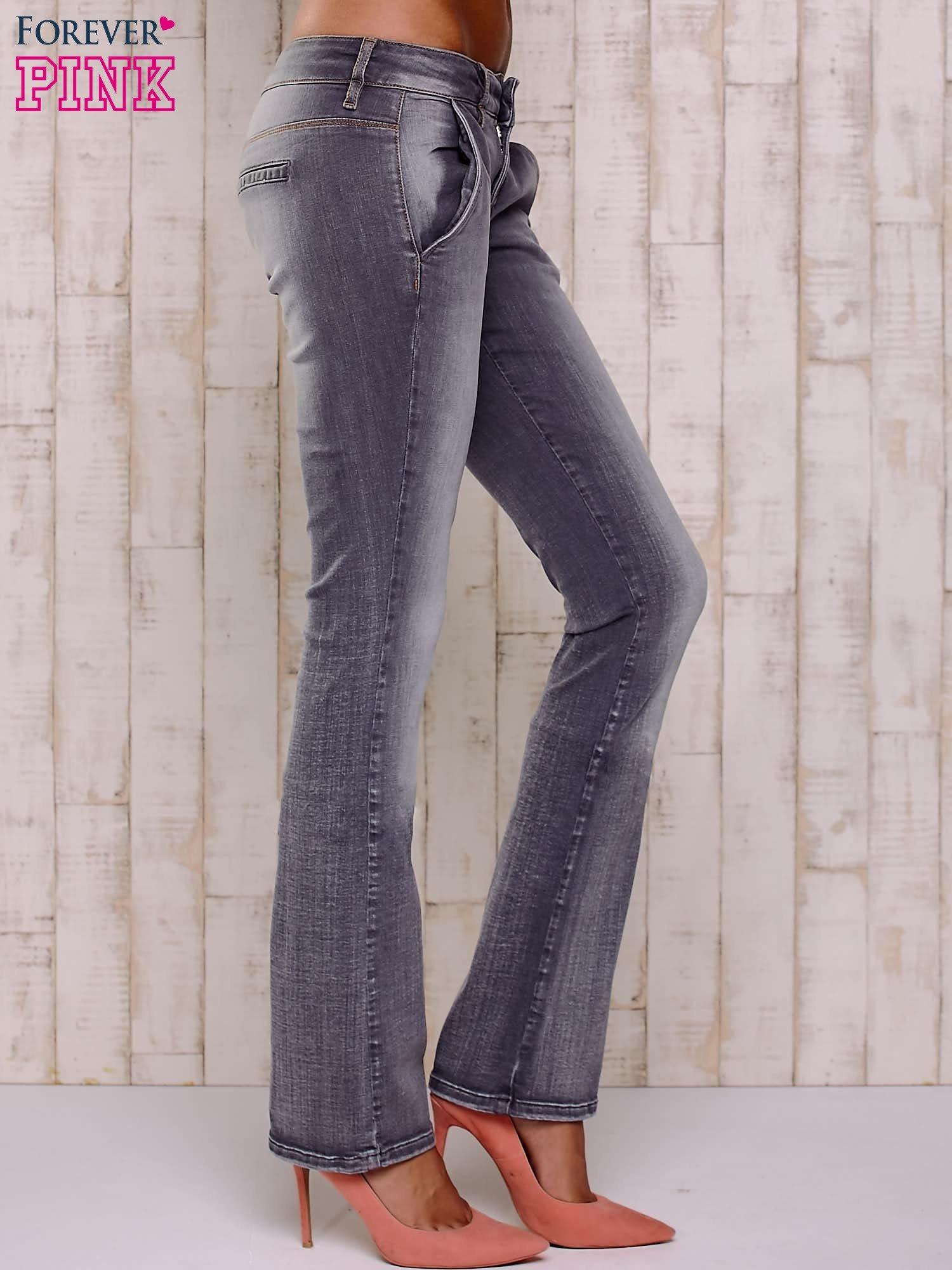 Szare przecierane spodnie ze stretchem                                  zdj.                                  3