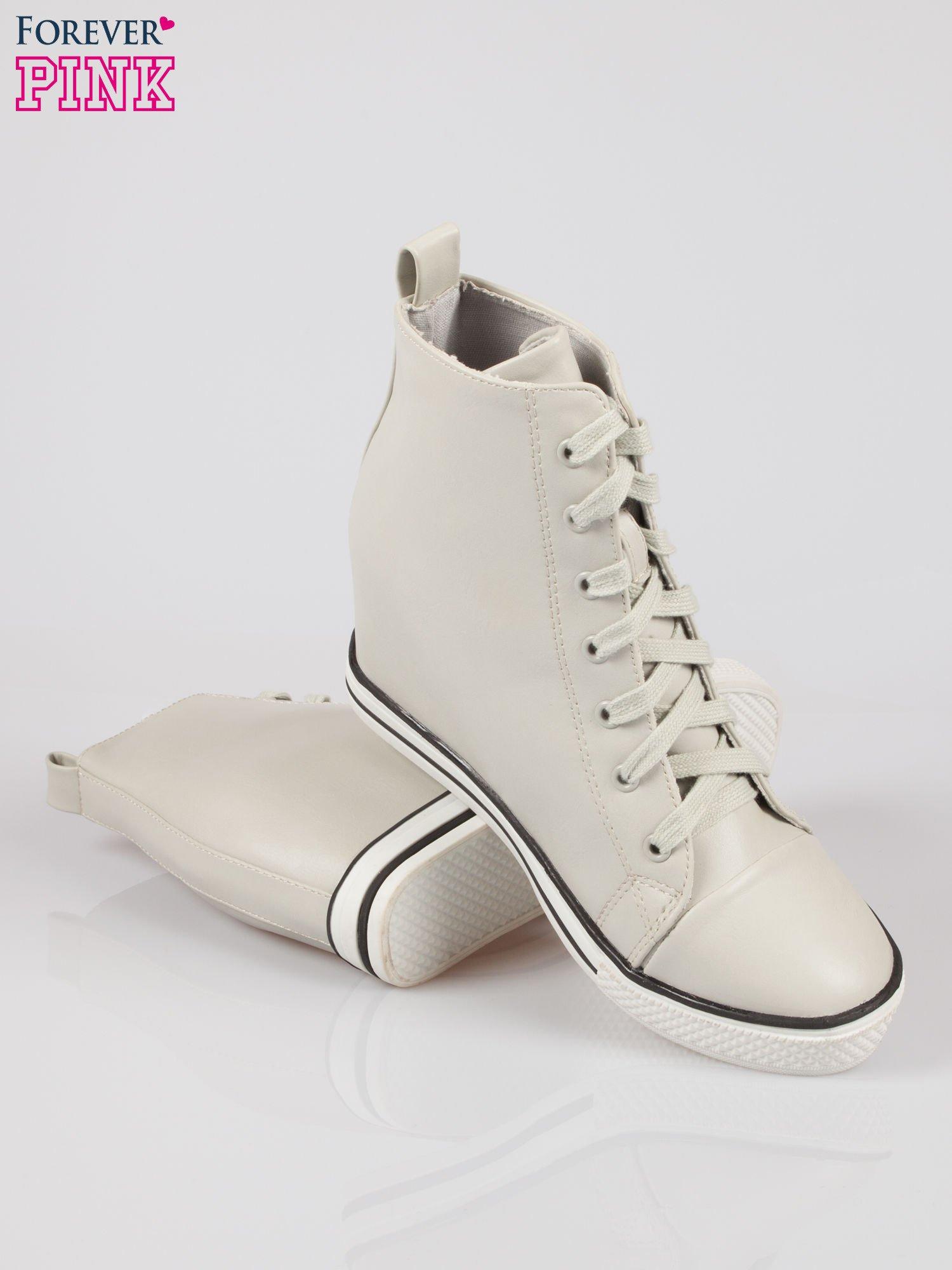 Szare skórzane sneakersy damskie                                  zdj.                                  4