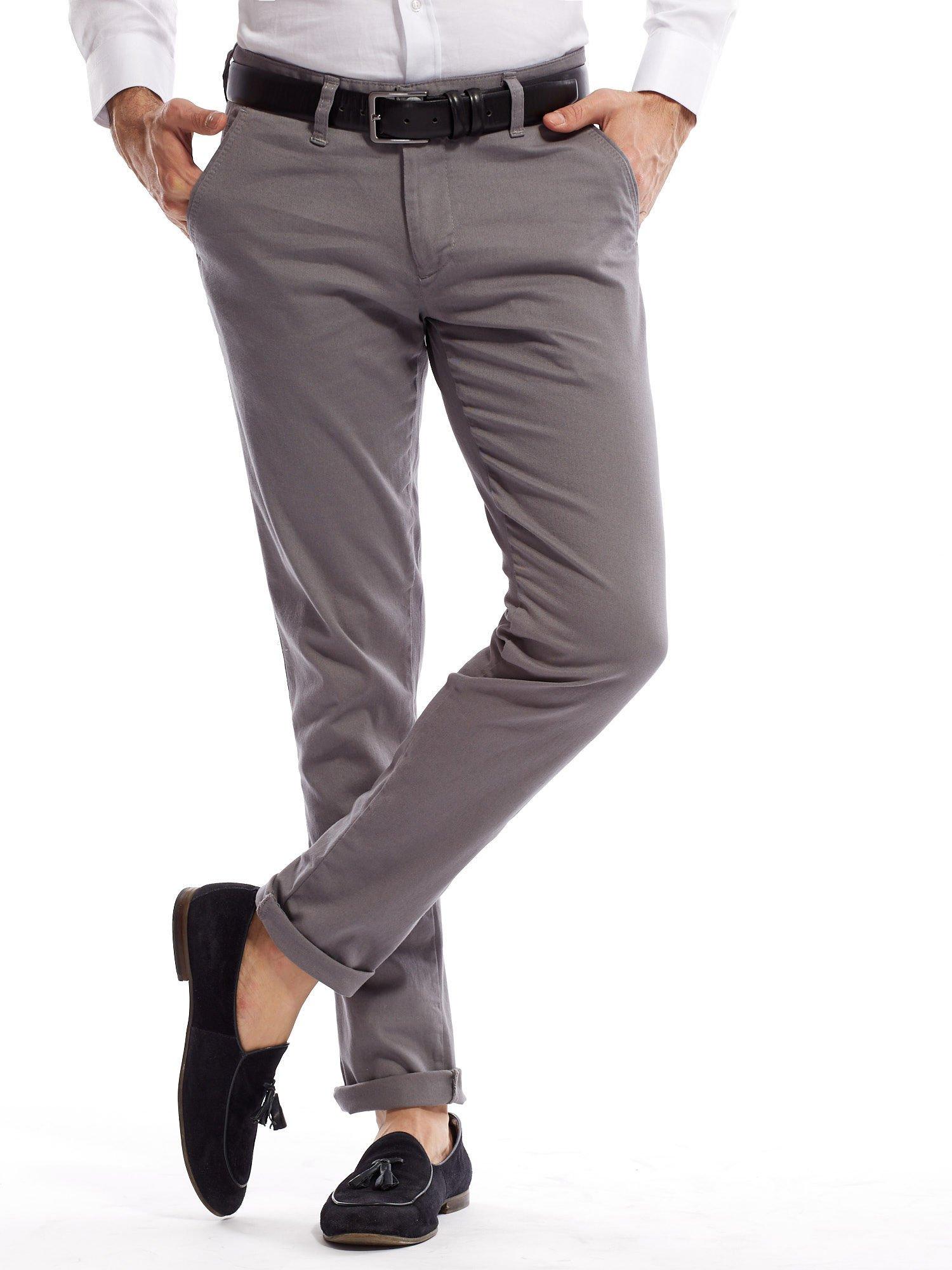 Szare spodnie męskie chinosy o prostym kroju