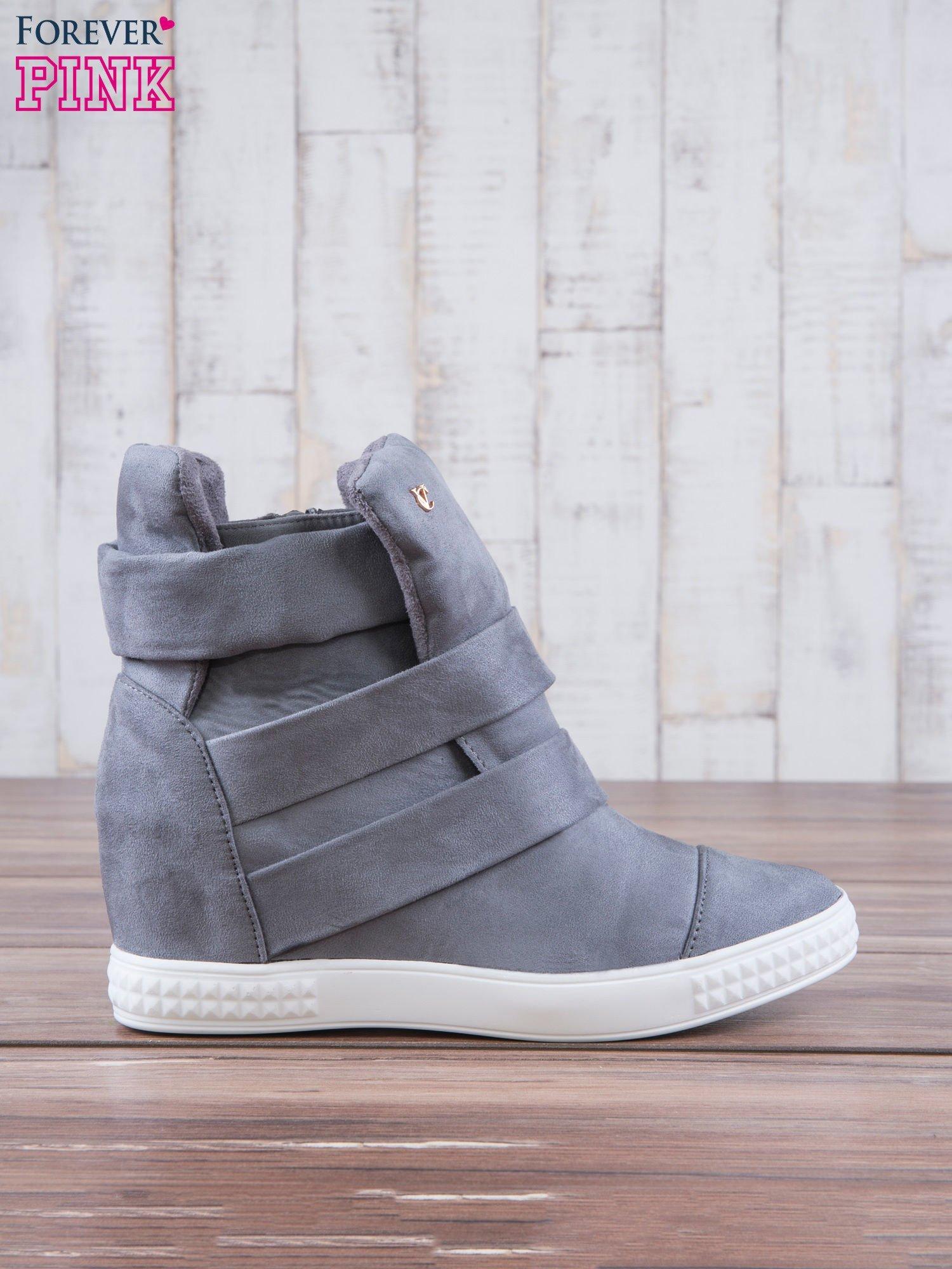 Szare zamszowe sneakersy bandage Quinn                                  zdj.                                  1