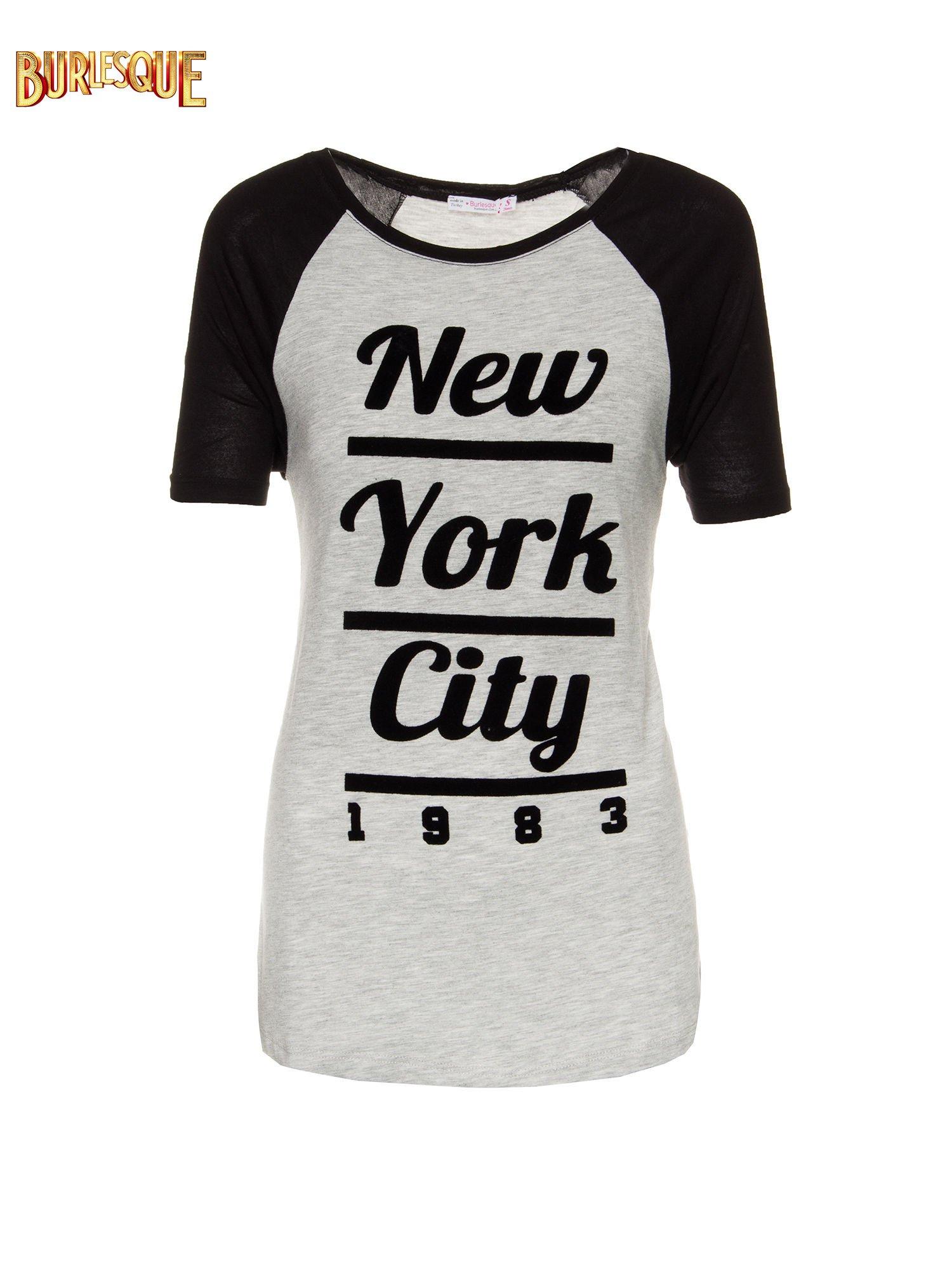 Szaro-czarny t-shirt z nadrukiem NEW YORK CITY 1983                                  zdj.                                  1