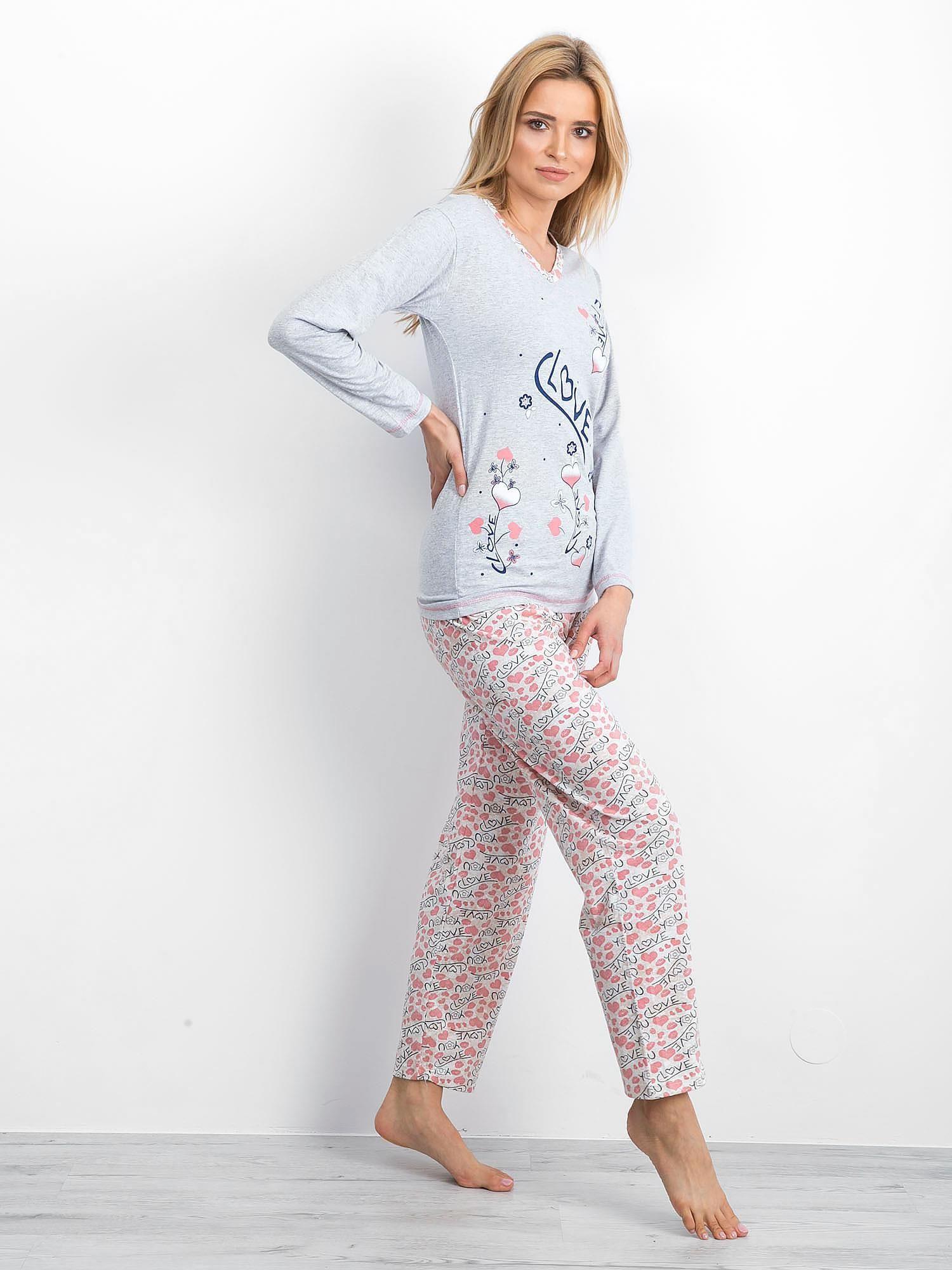 5323cb12c6c180 Szaro-różowa bawełniana piżama - Bielizna piżama - sklep eButik.pl