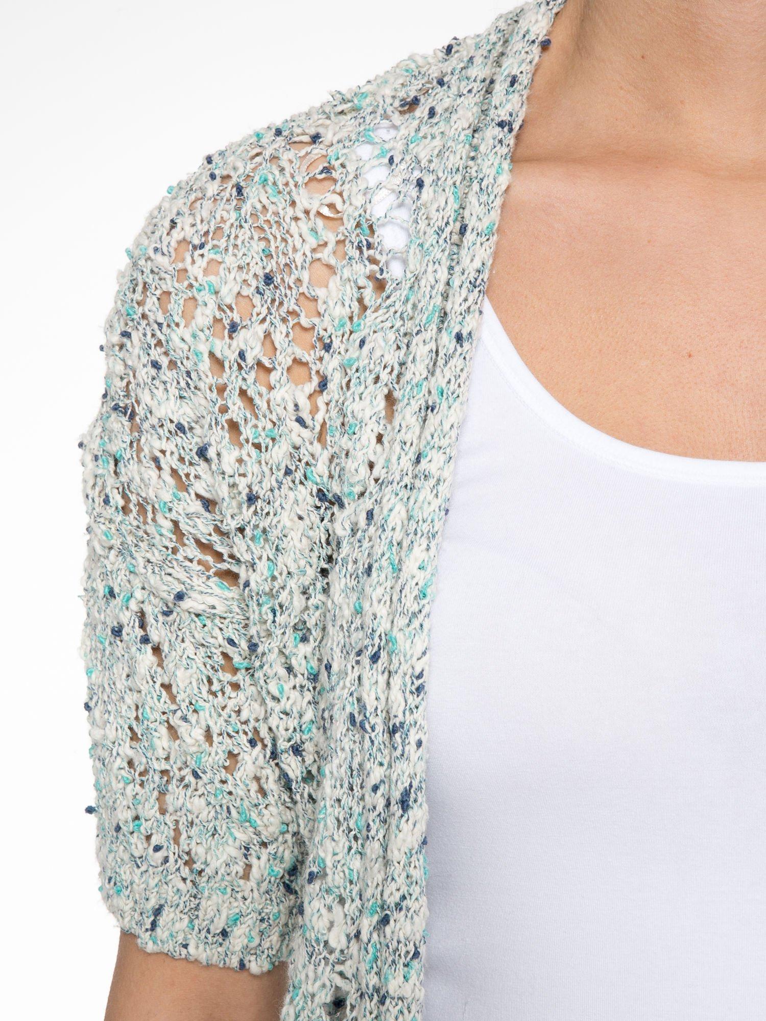 Szarozielony dziergany sweter typu kardigan z krótkim rękawem                                  zdj.                                  5
