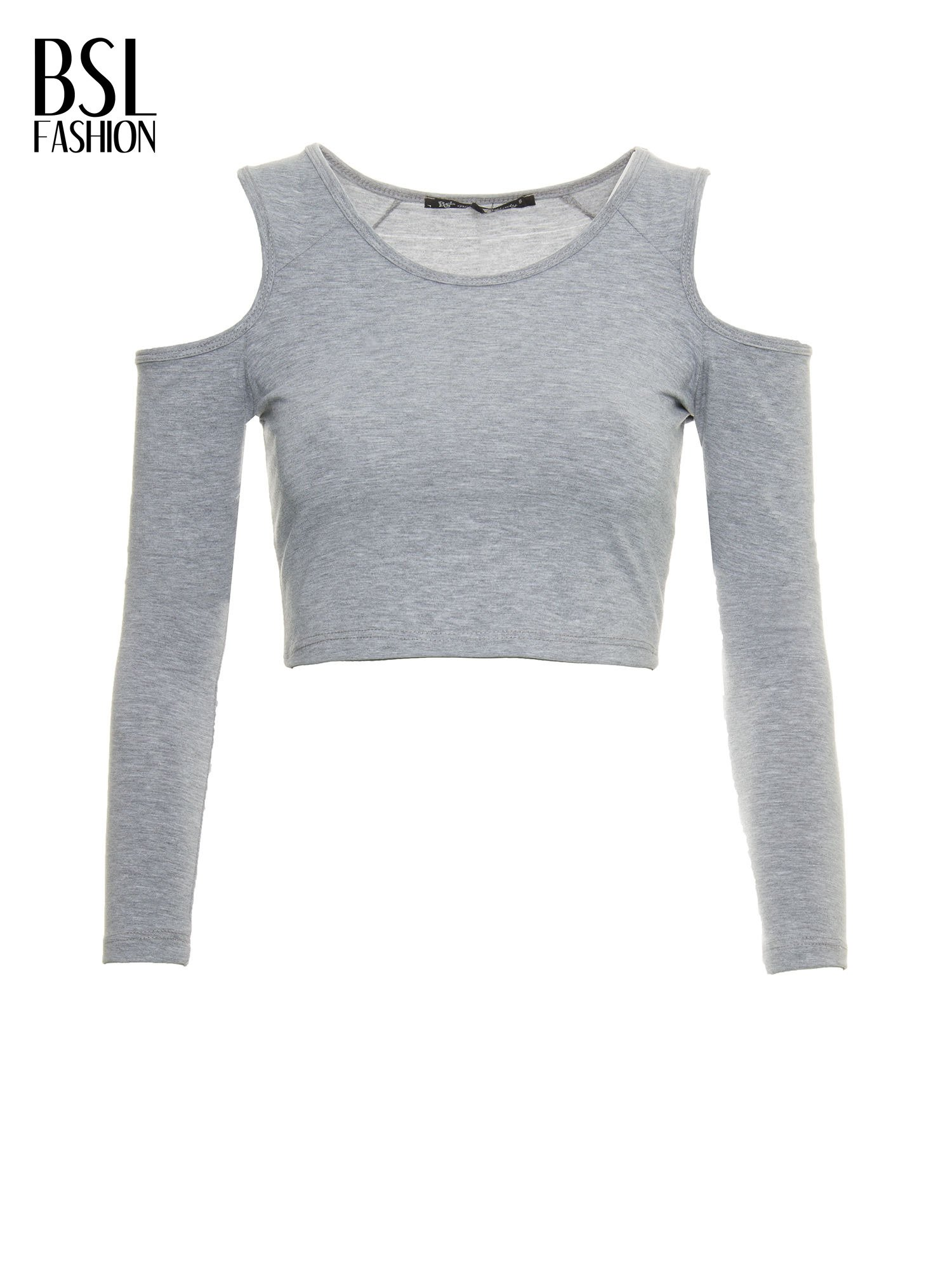 9af3e85cc13e99 Szary crop top z rękawami cut out - T-shirt top - sklep eButik.pl