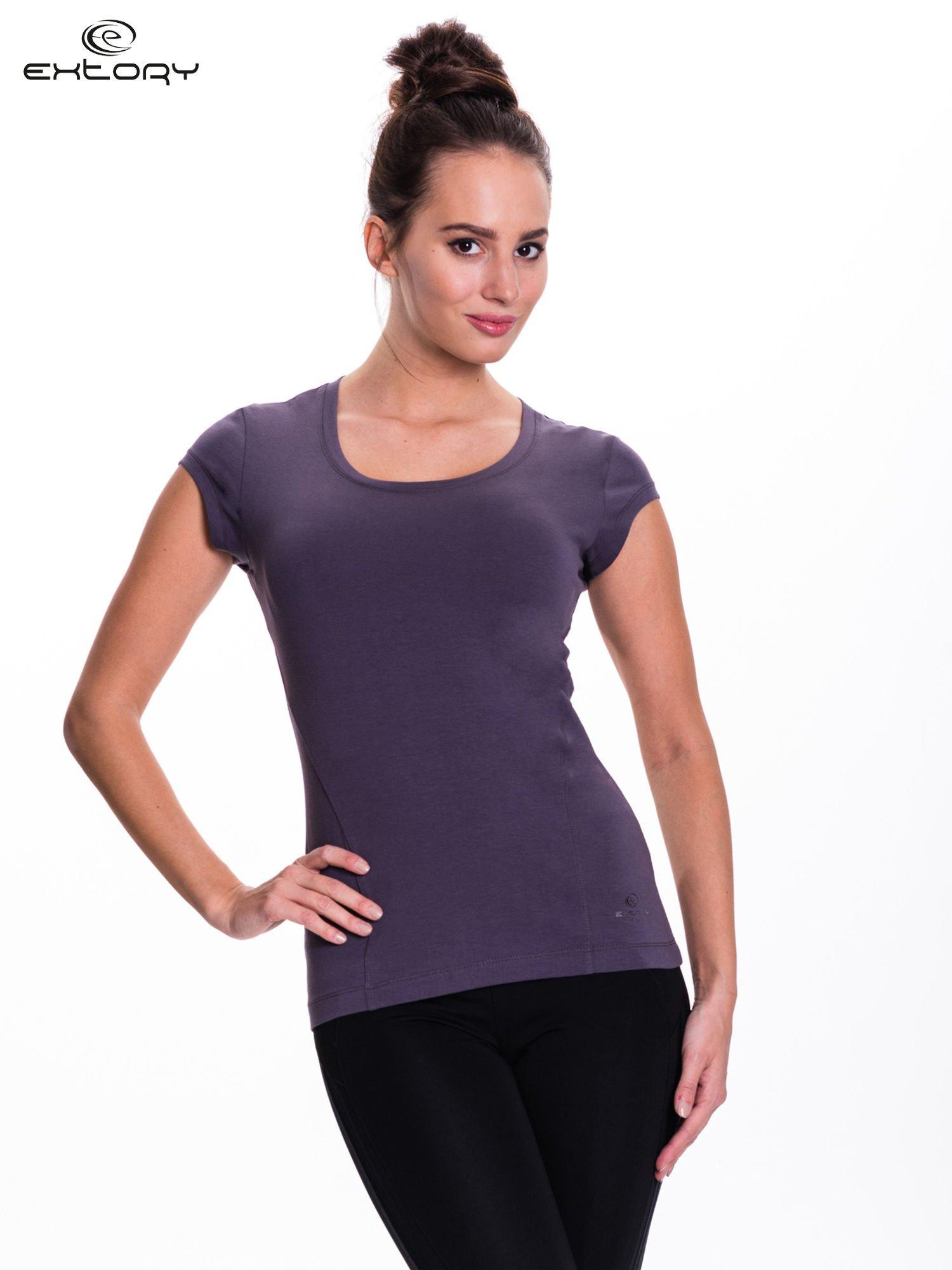 Szary damski t-shirt sportowy basic                                  zdj.                                  1