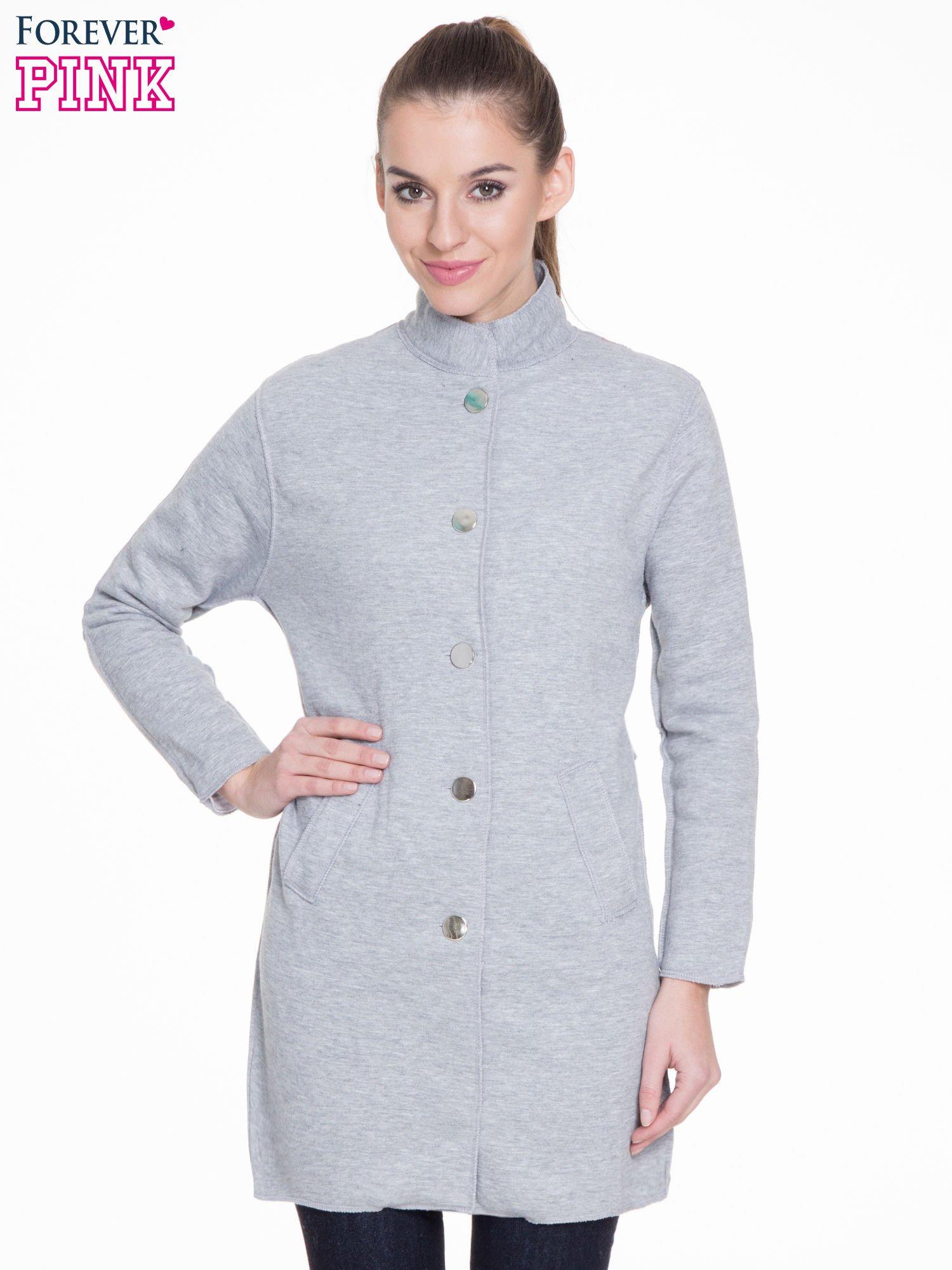 df79f54315a89 Szary dresowy płaszcz o kroju oversize - Kurtka płaszcz - sklep ...