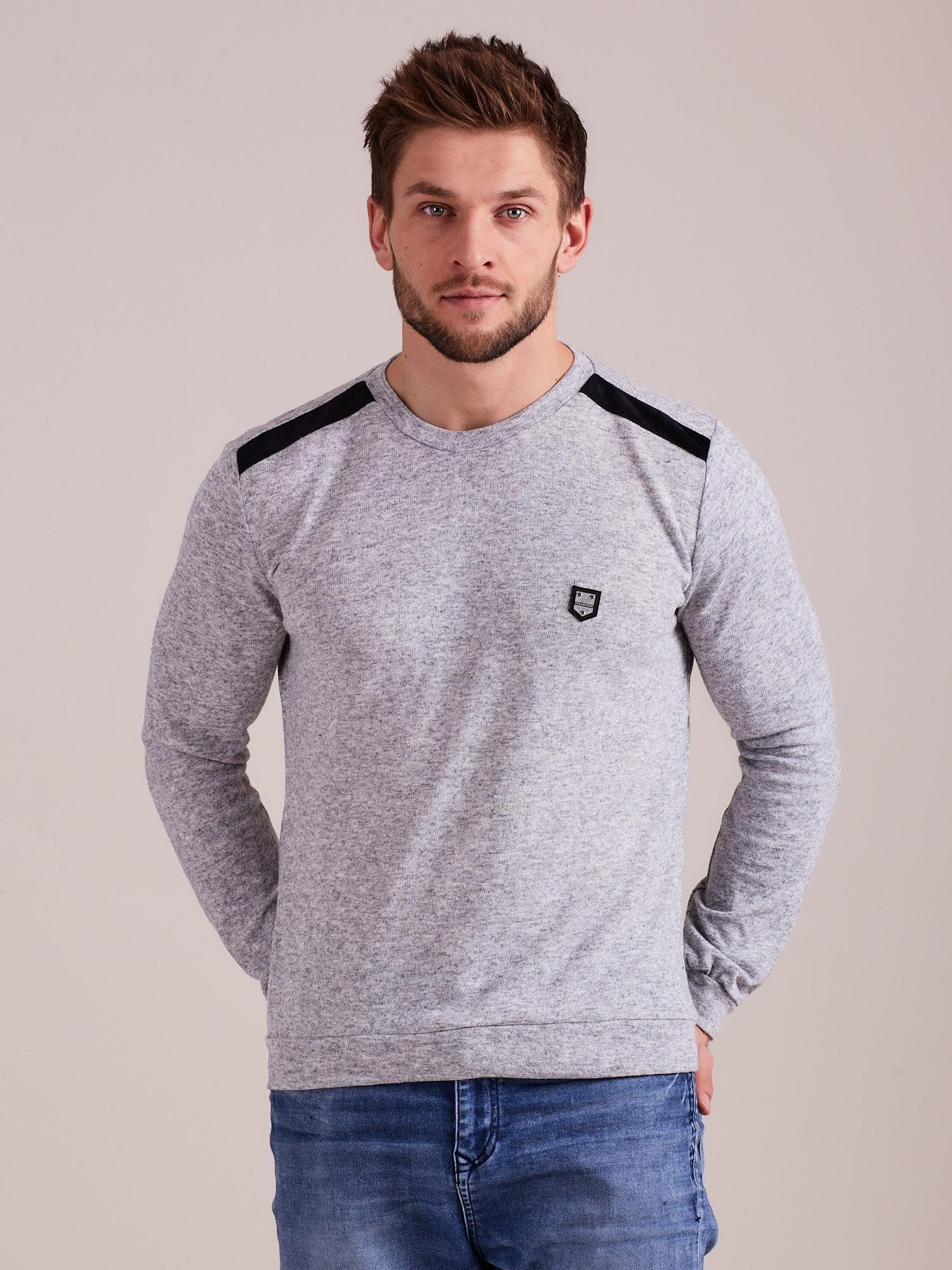 a0bdc683108892 Szary dzianinowy sweter męski - Mężczyźni Sweter męski - sklep eButik.pl