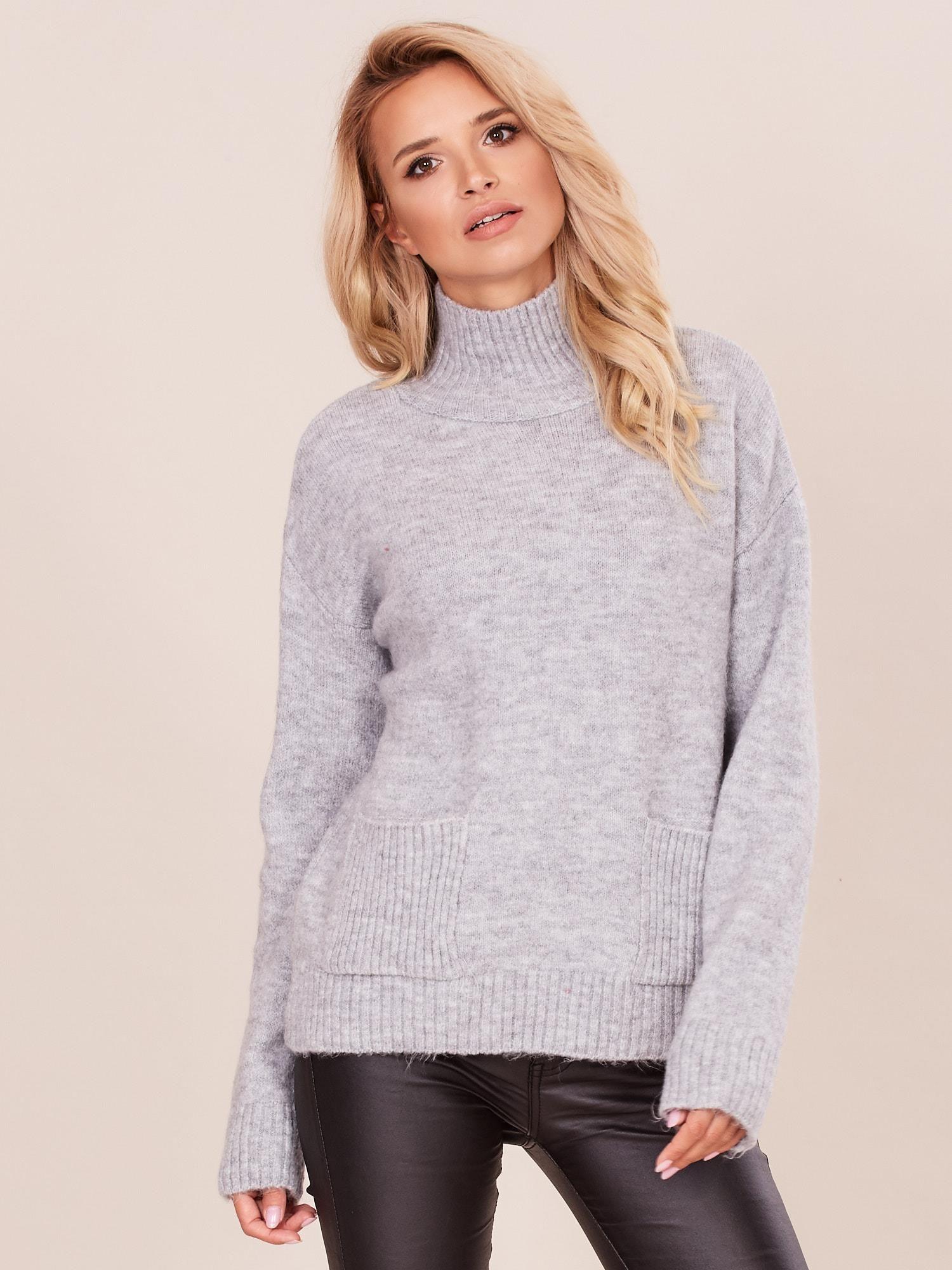 Sweter z Szerokim Dekoltem Szary AW227 | Fashion, Clothes