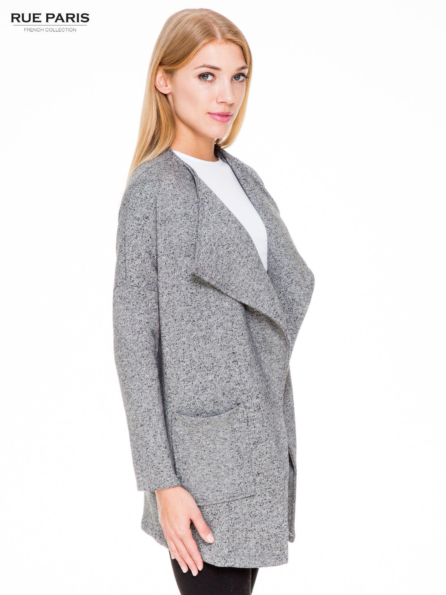 Szary melanżowy bluzożakiet z kieszeniami                                  zdj.                                  3