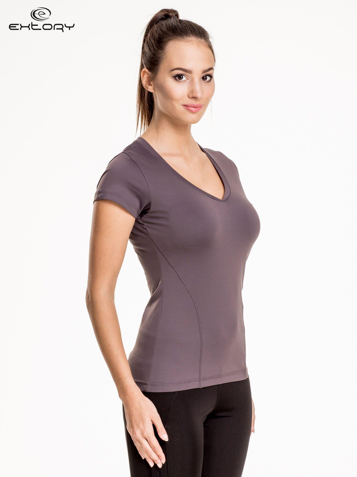 Szary modelujący damski t-shirt sportowy                                   zdj.                                  3